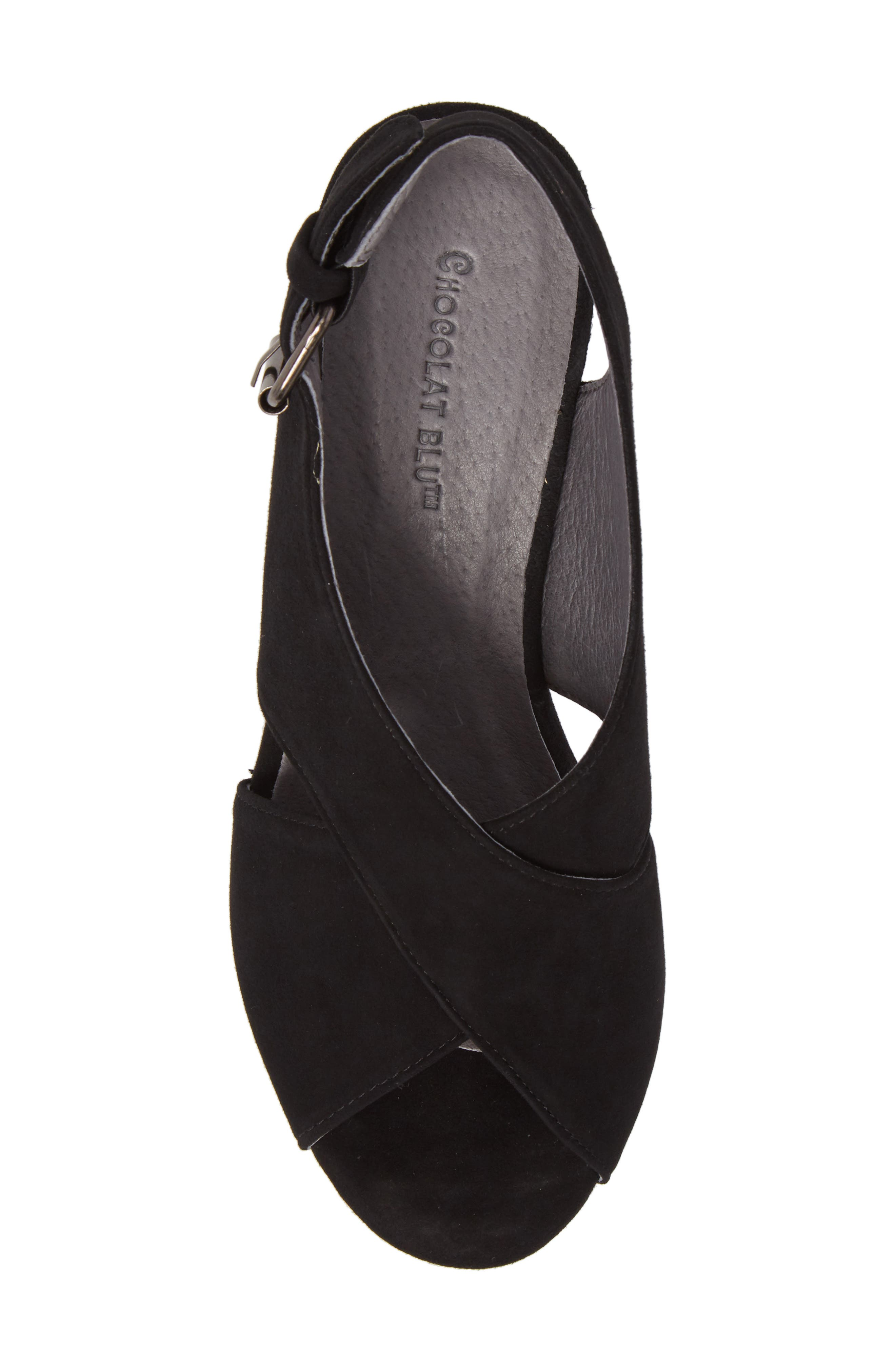 Wim Platform Wedge Sandal,                             Alternate thumbnail 5, color,                             BLACK SUEDE