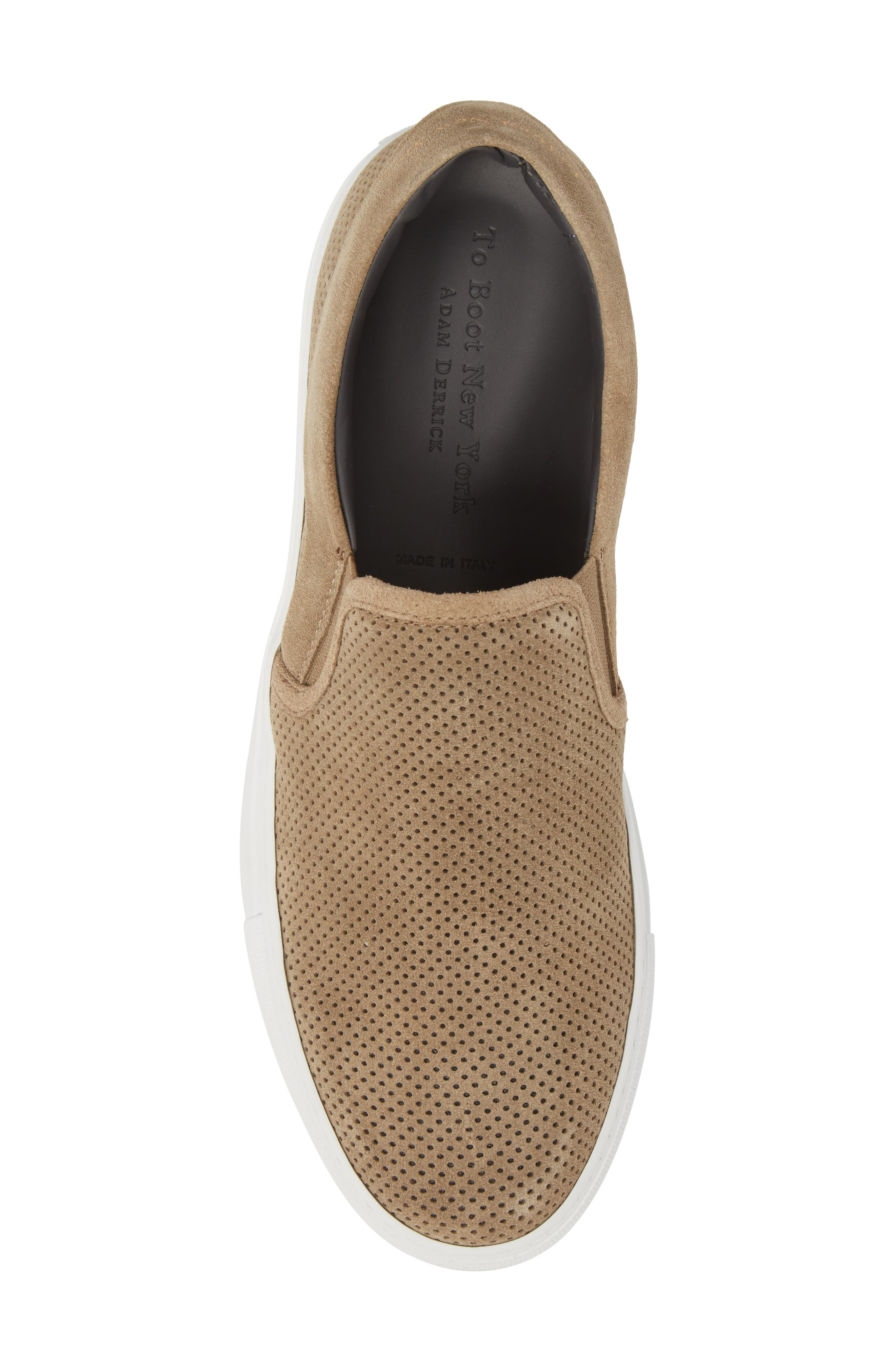 Buelton Perforated Slip-On Sneaker,                             Alternate thumbnail 5, color,                             BROWN SUEDE