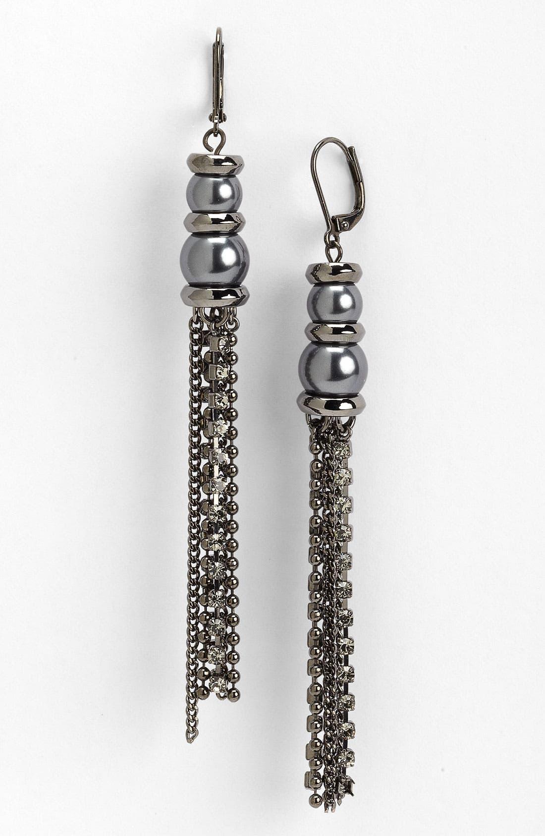 Glass Pearl & Chain Tassel Earrings,                             Main thumbnail 1, color,                             020