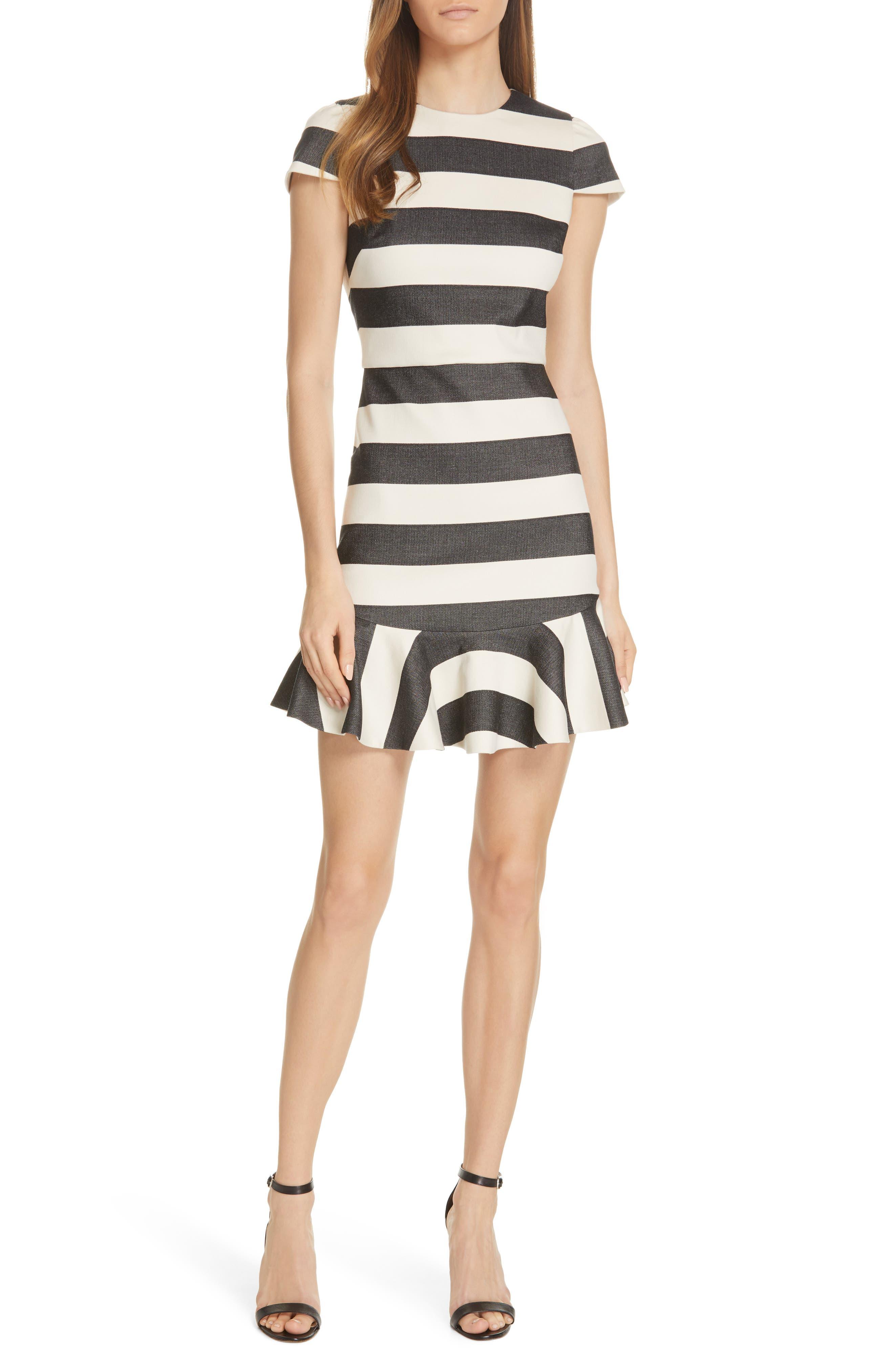 Alice + Olivia Fantine Ruffled Stripe Dress, Black