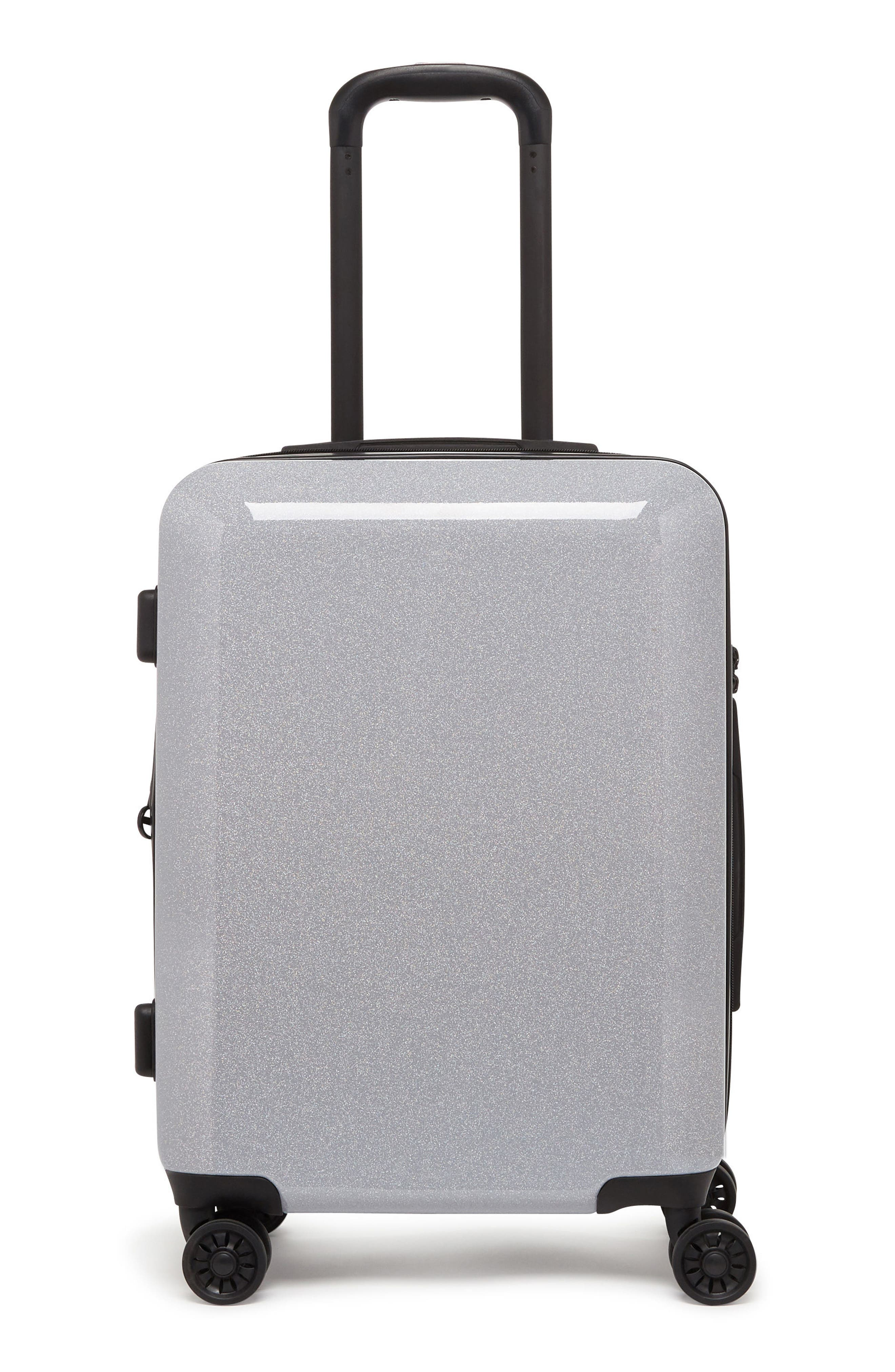 Medora Glitter 20-Inch Hardshell Spinner Carry-On Suitcase,                             Main thumbnail 1, color,                             SILVER STARDUST