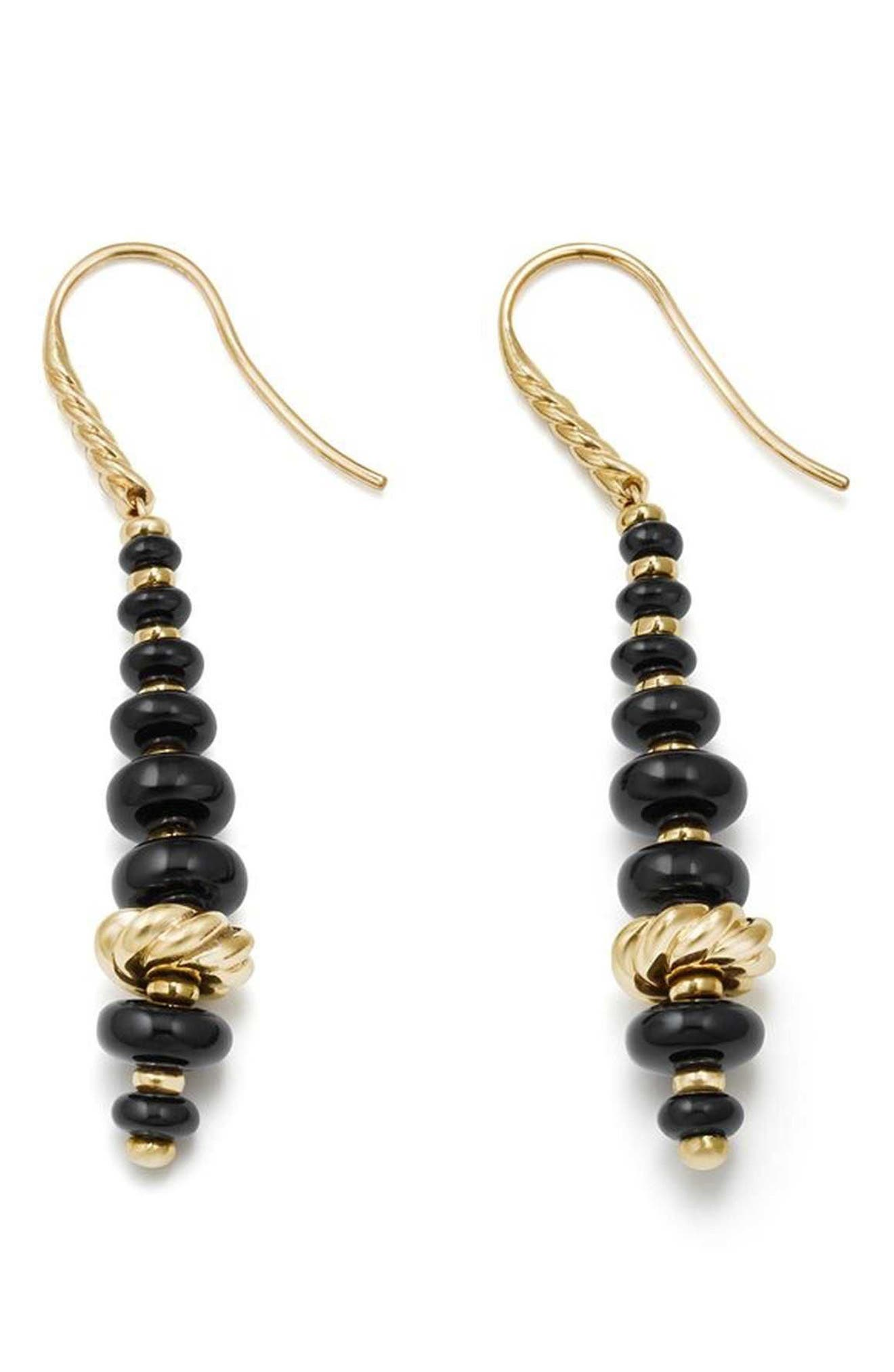 Rio Rondelle Drop Earrings in 18K Gold,                             Alternate thumbnail 2, color,                             GOLD/ BLACK ONYX
