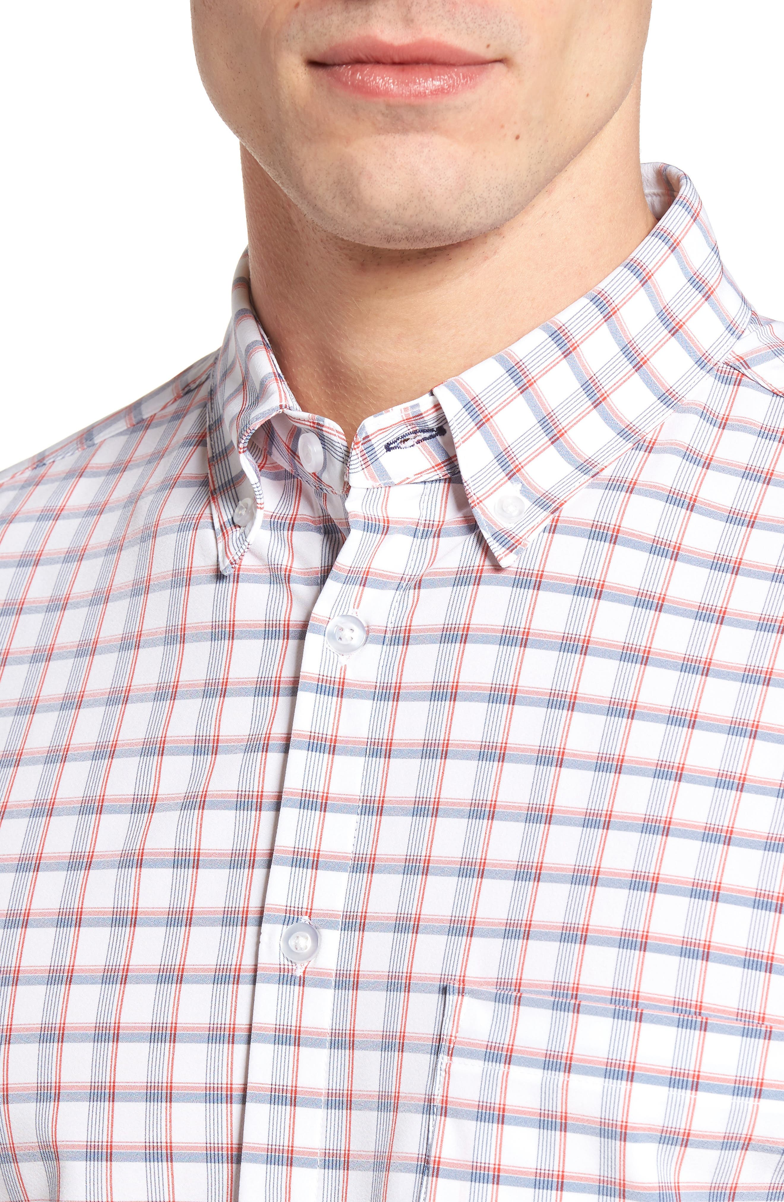 Sanford Slim Fit Plaid Performance Sport Shirt,                             Alternate thumbnail 4, color,                             600