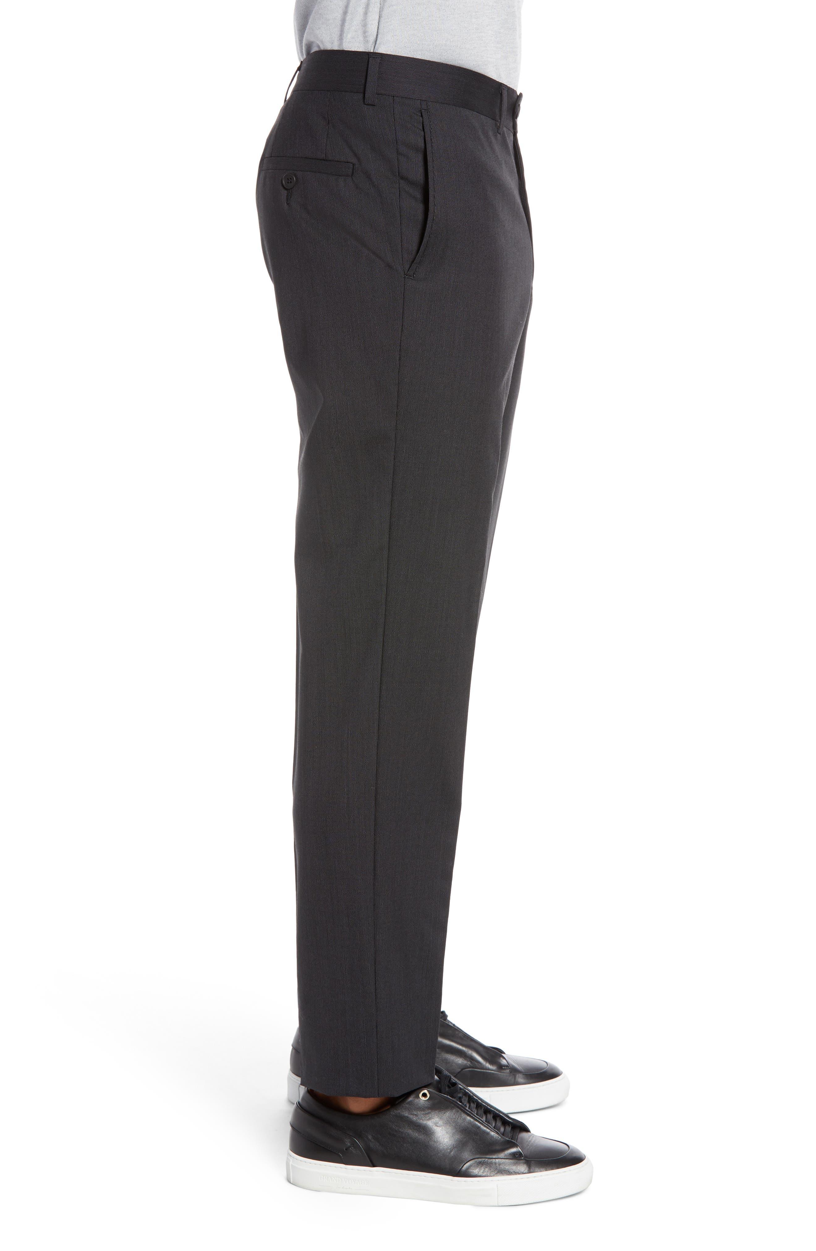 Trim Fit Flat Front Stretch Wool Pants,                             Alternate thumbnail 3, color,                             BLACK
