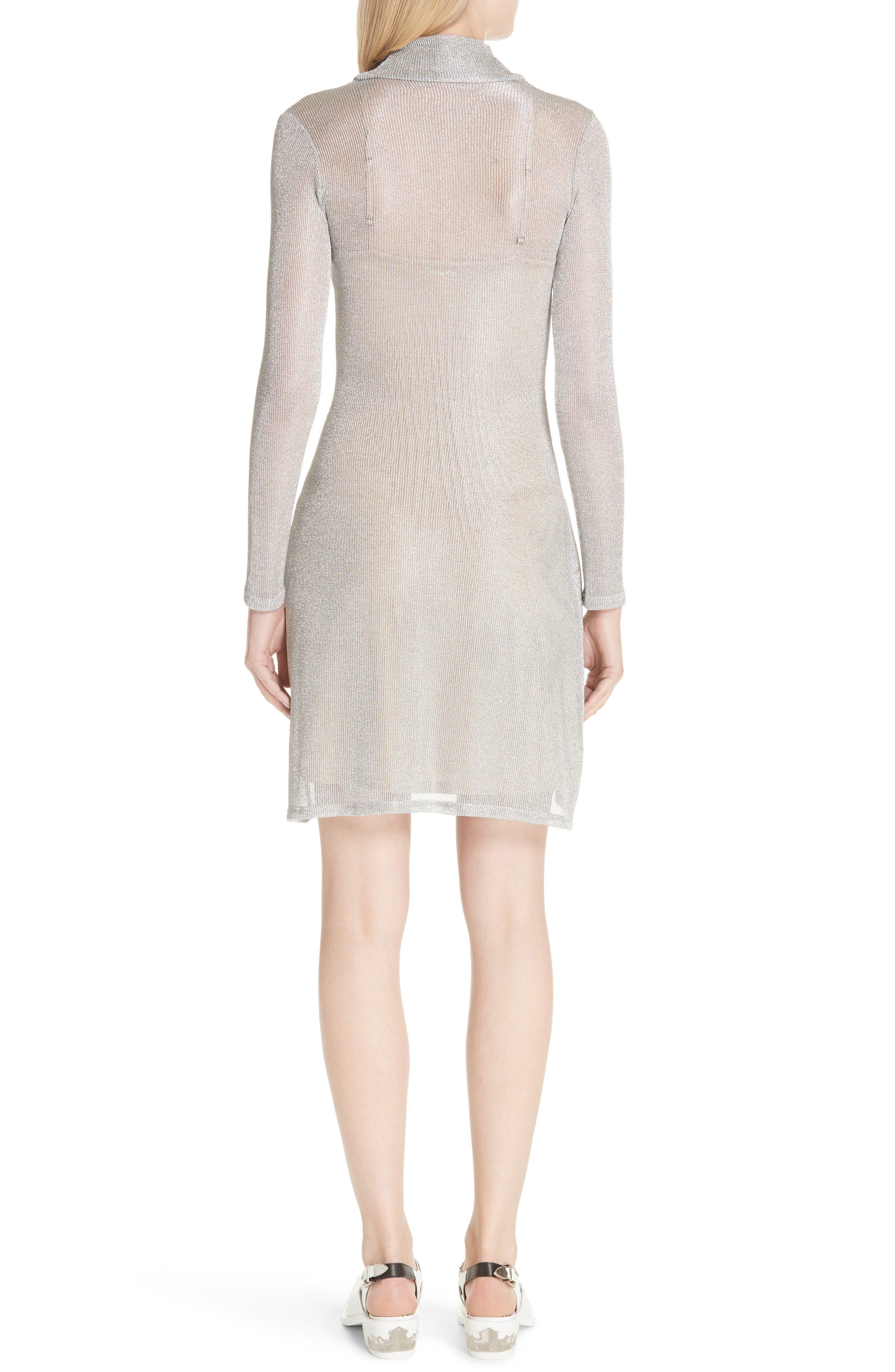 Metallic Rib Turtleneck Dress,                             Alternate thumbnail 2, color,                             SM - SILVER MESH