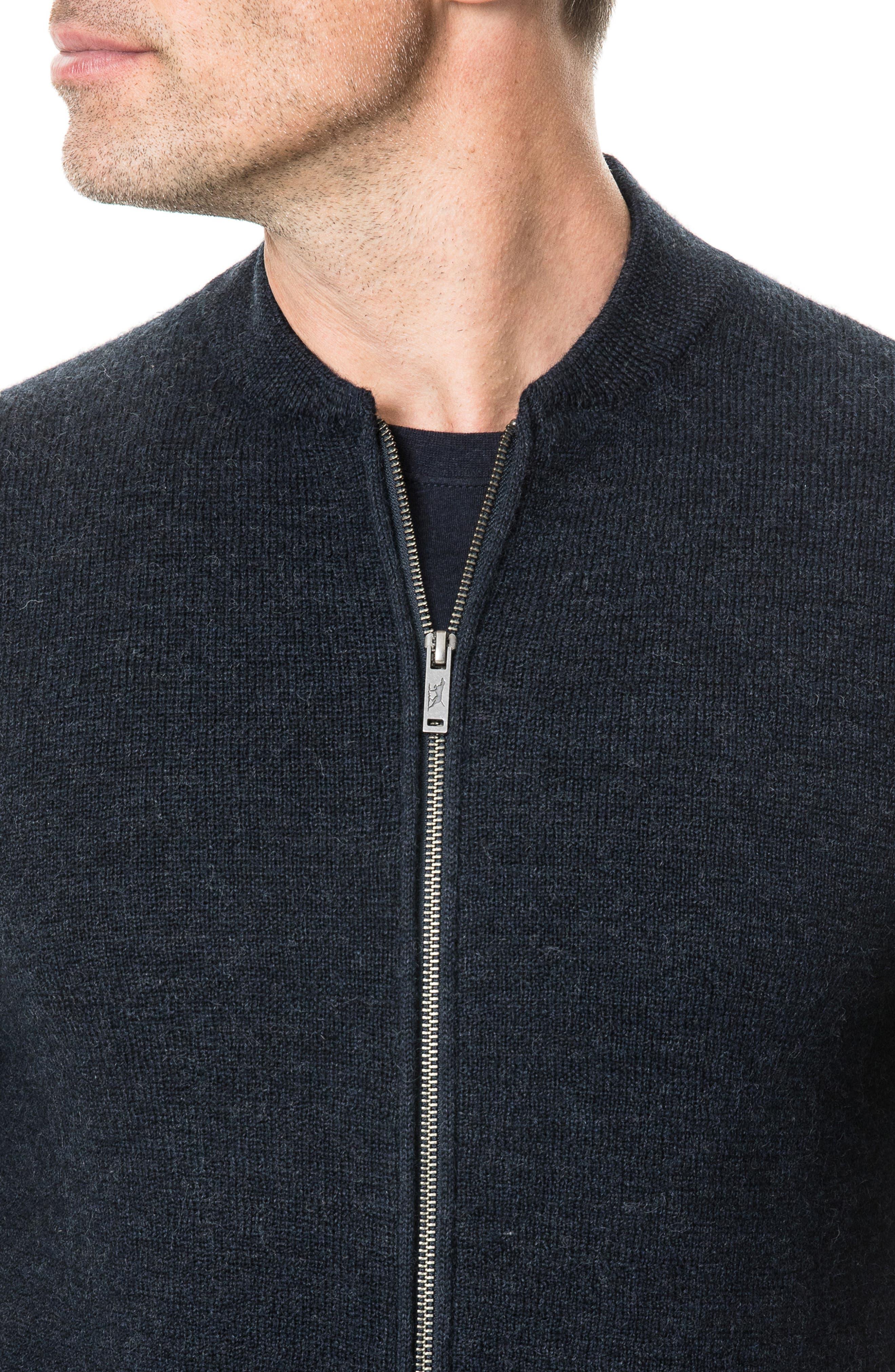 Fairton Regular Fit Wool Zip Front Sweater,                             Alternate thumbnail 3, color,                             NAVY