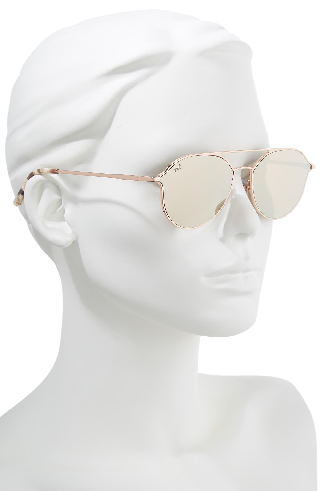 59mm Metal Aviator Sunglasses,                             Alternate thumbnail 2, color,                             LIGHT BRONZE/ BROWN