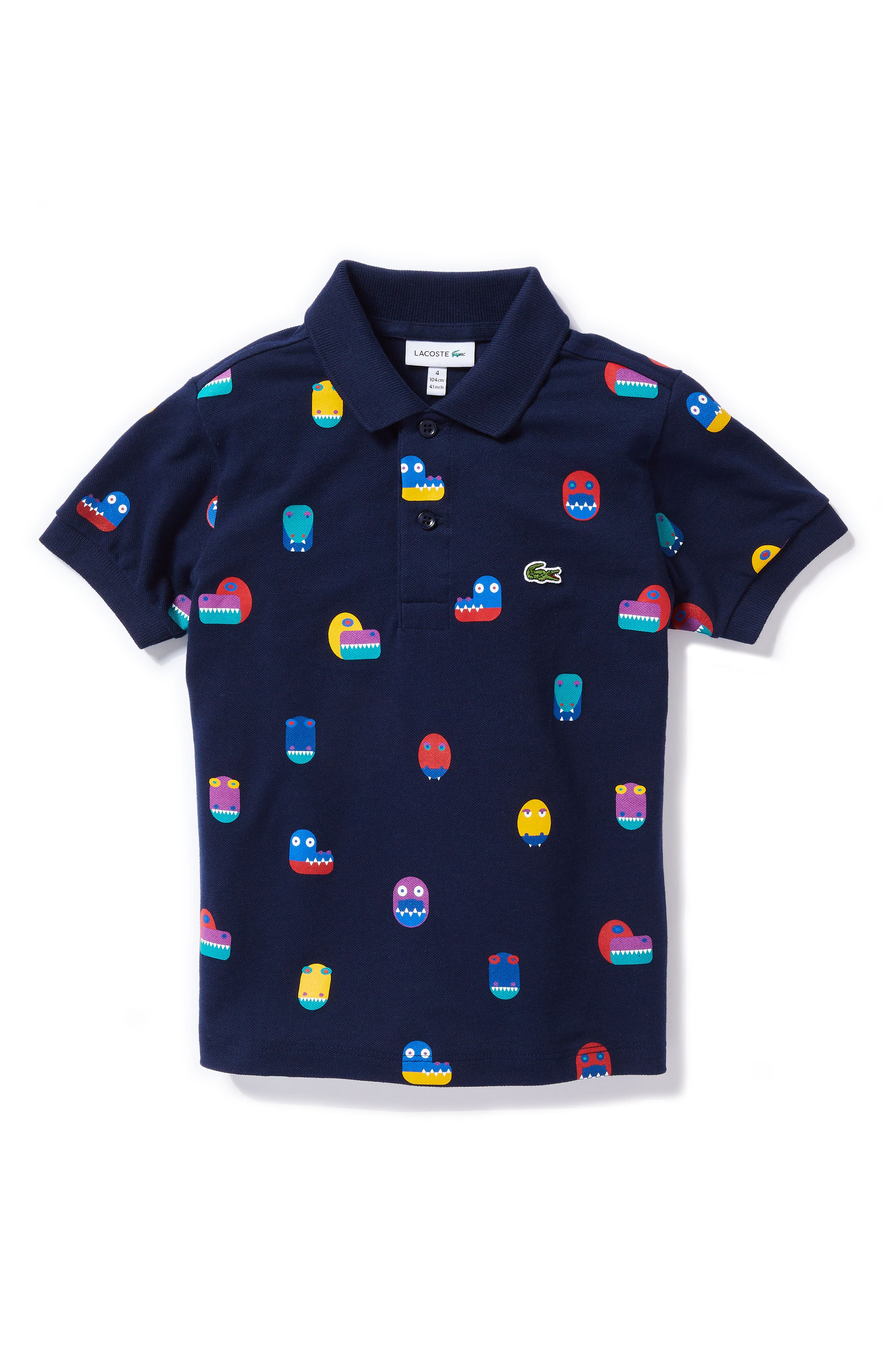 Video Game Print Polo,                         Main,                         color, NAVY BLUE