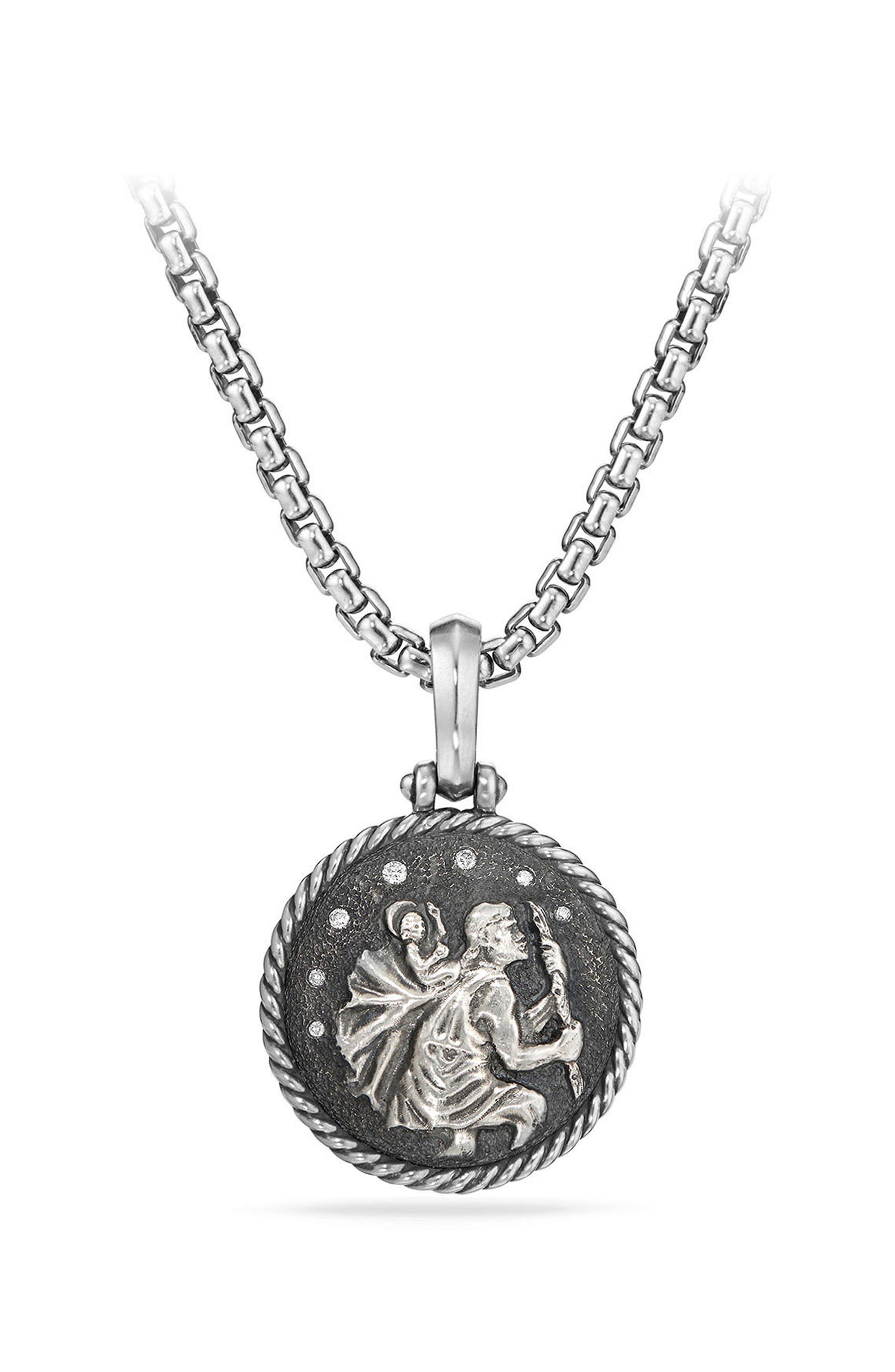 St. Christopher Diamond Amulet,                             Main thumbnail 1, color,                             SILVER