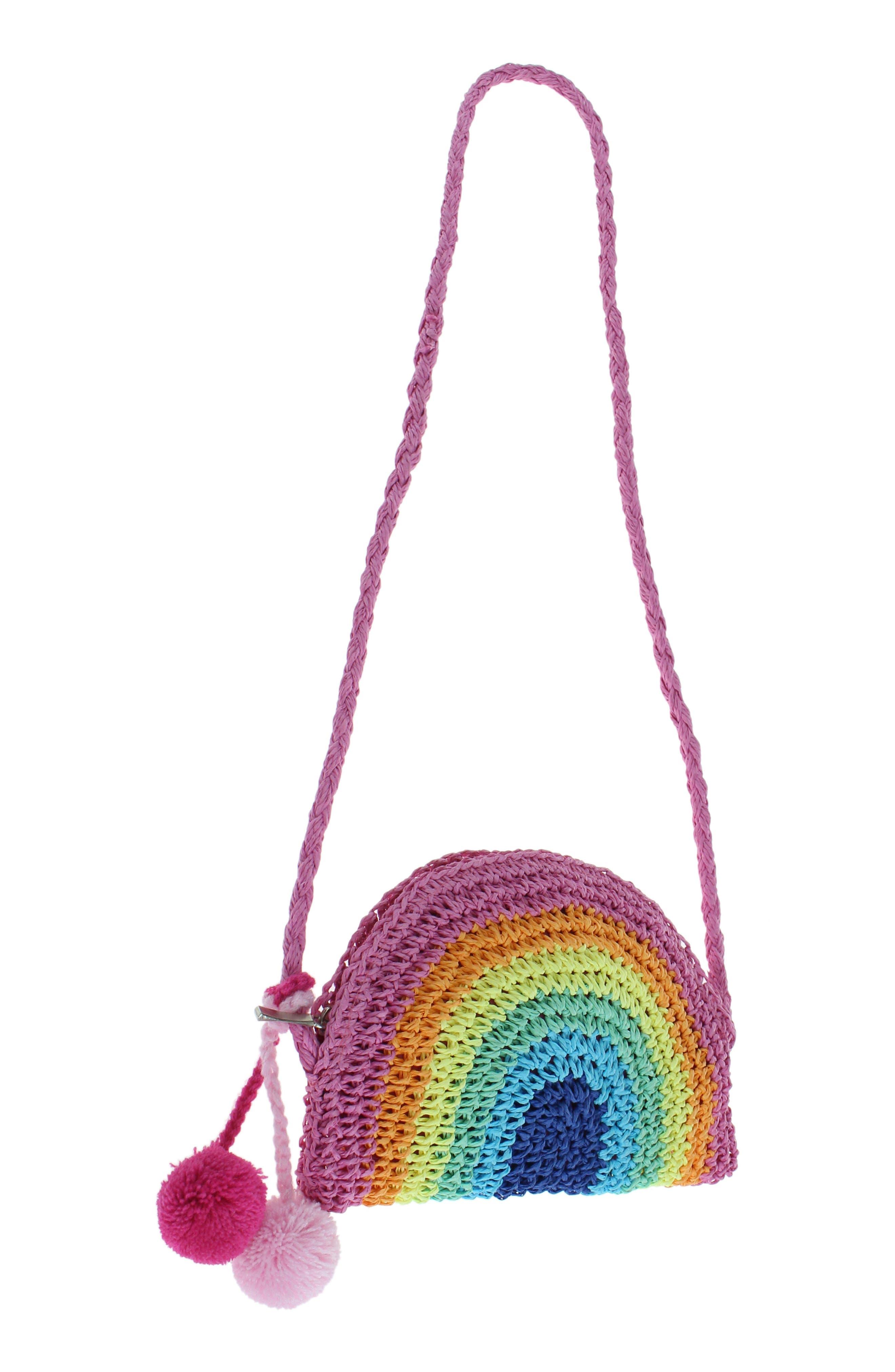 Rainbow Straw Crossbody Bag,                             Alternate thumbnail 4, color,                             MULTI CO