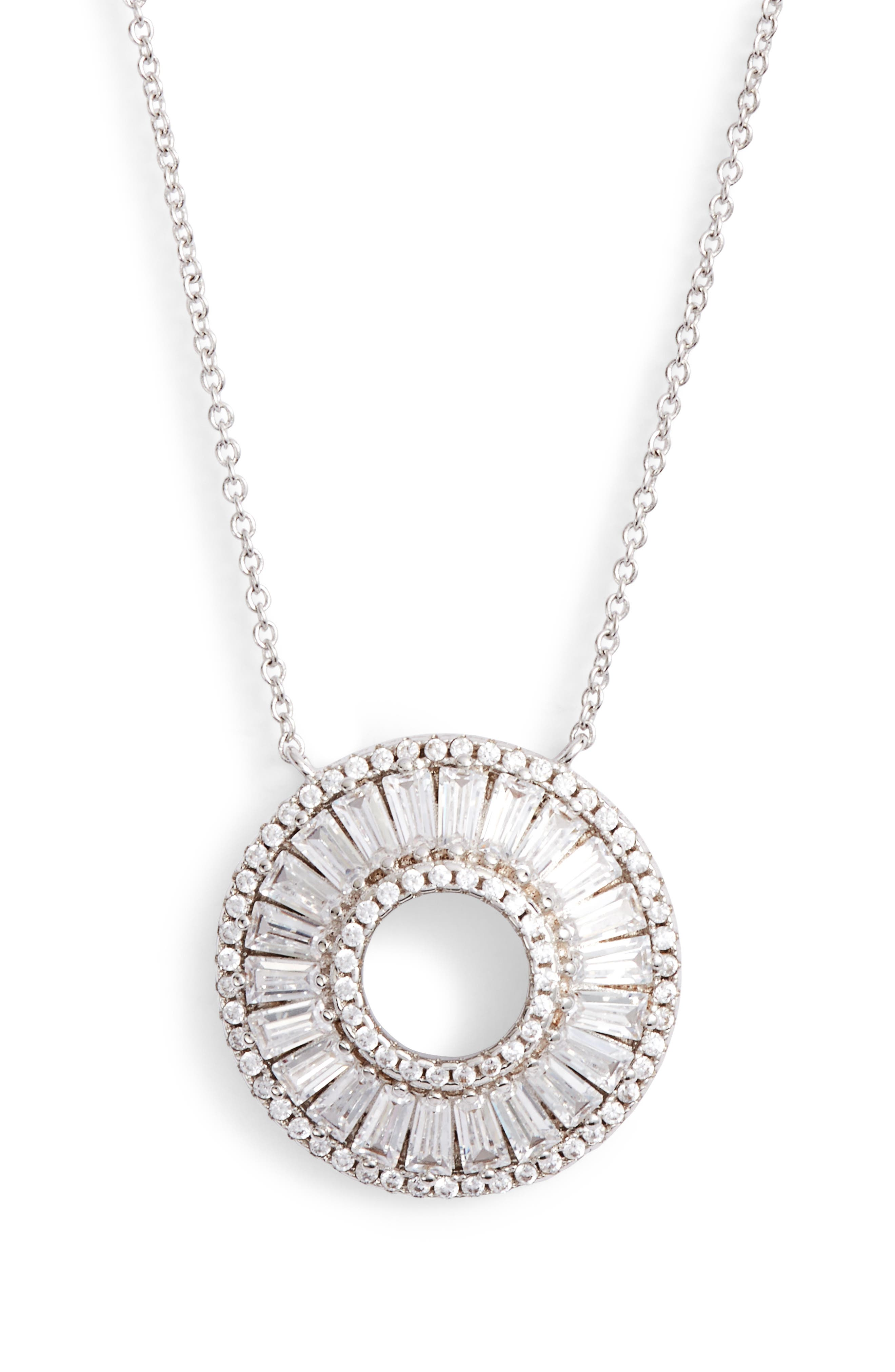 Baguette Cubic Zirconia Circle Pendant Necklace,                             Main thumbnail 1, color,                             040