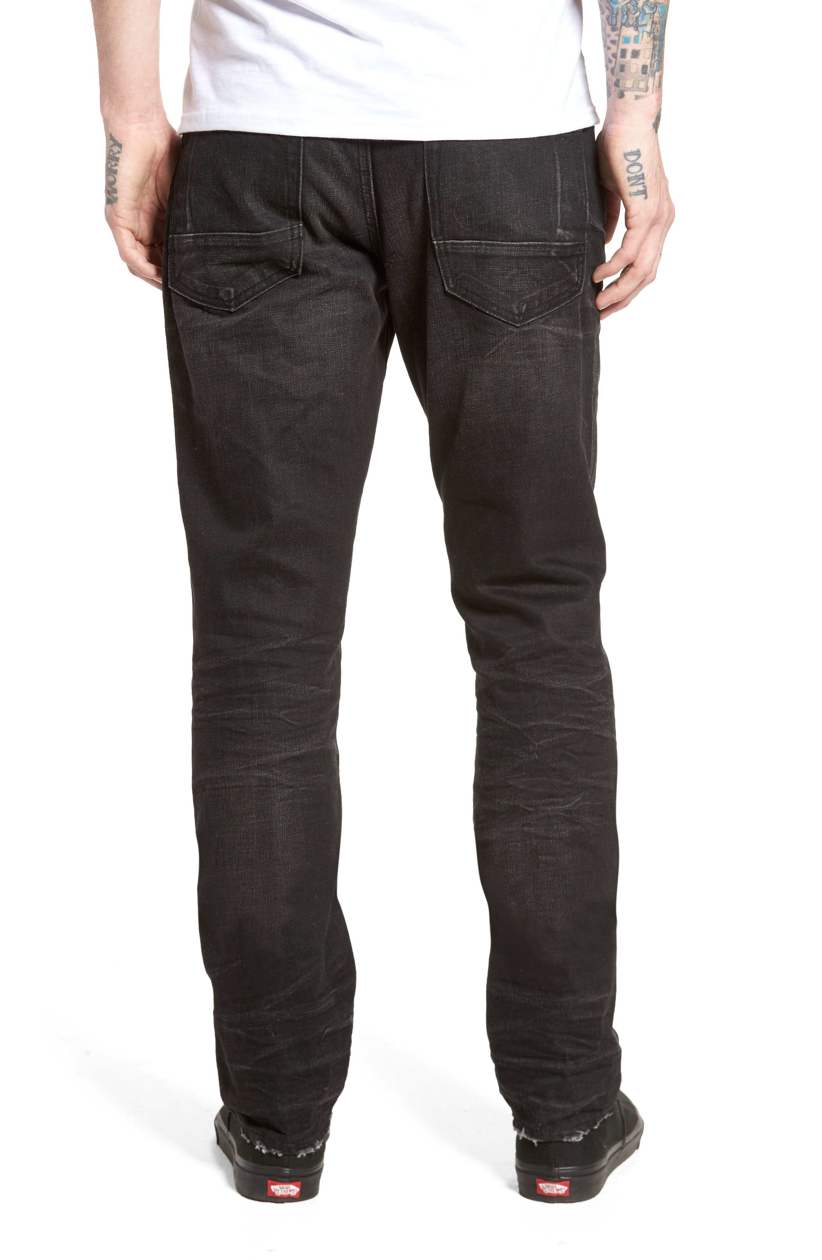 Slim Straight Leg Jeans,                             Alternate thumbnail 2, color,                             001