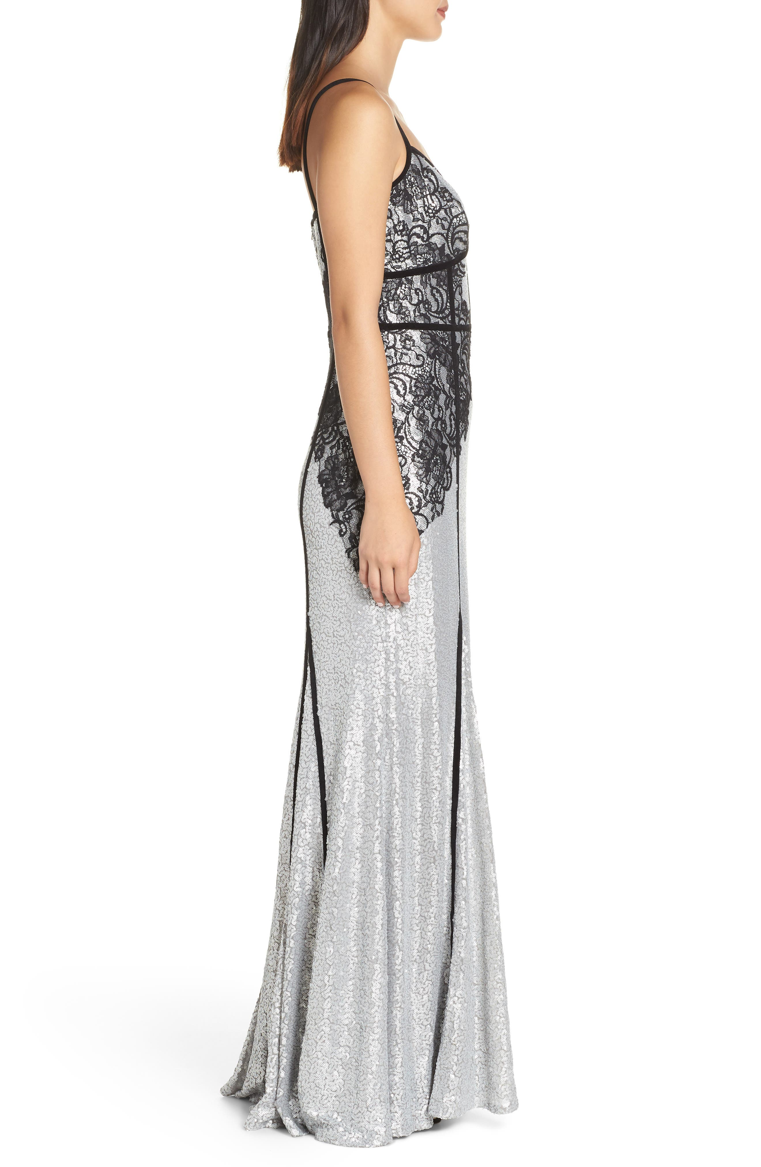 Sleeveless Sequin & Lace Gown,                             Alternate thumbnail 3, color,                             SILVER/ BLACK