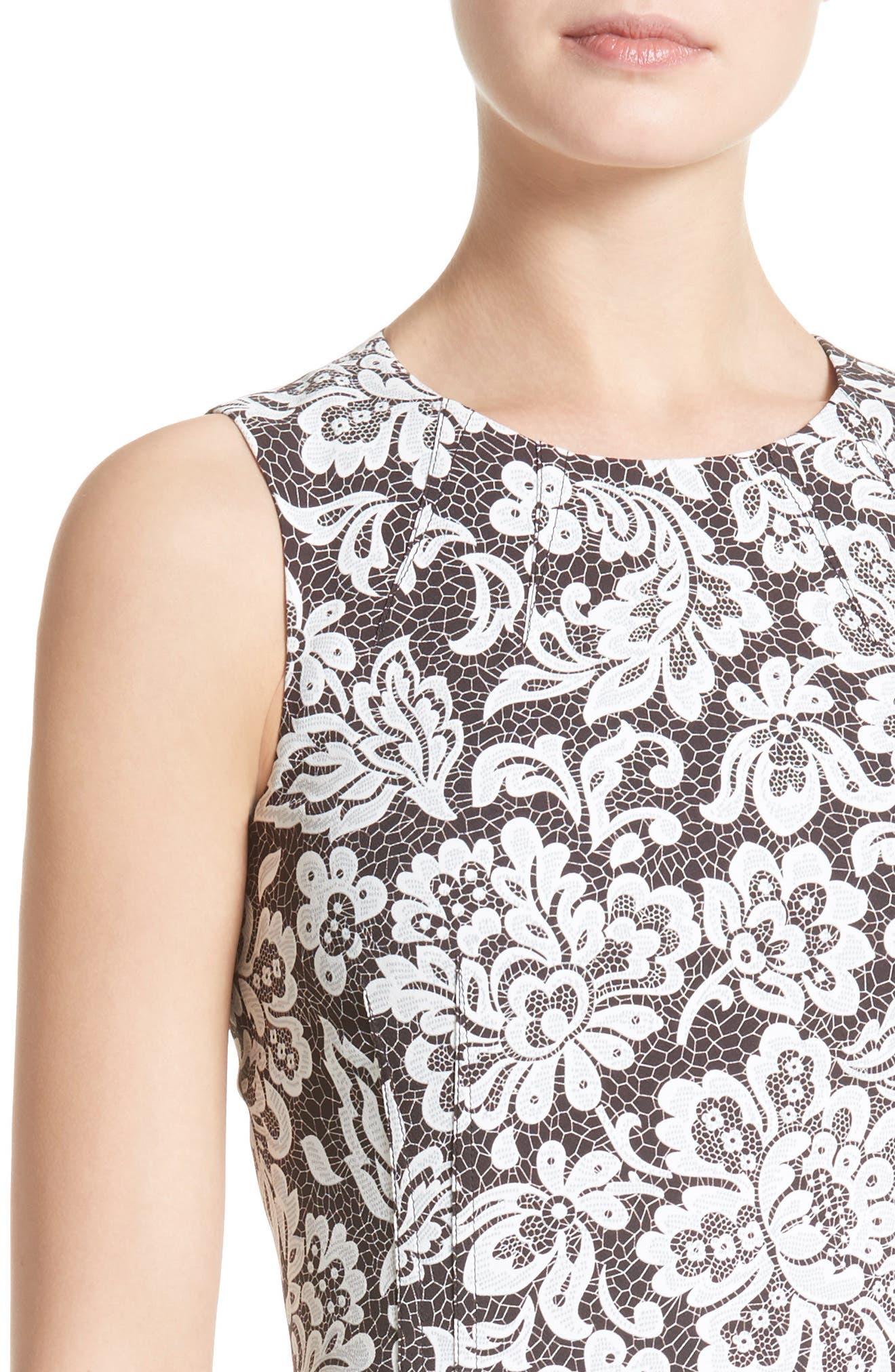 Stretch Cady Lace Print Sheath Dress,                             Alternate thumbnail 4, color,                             001