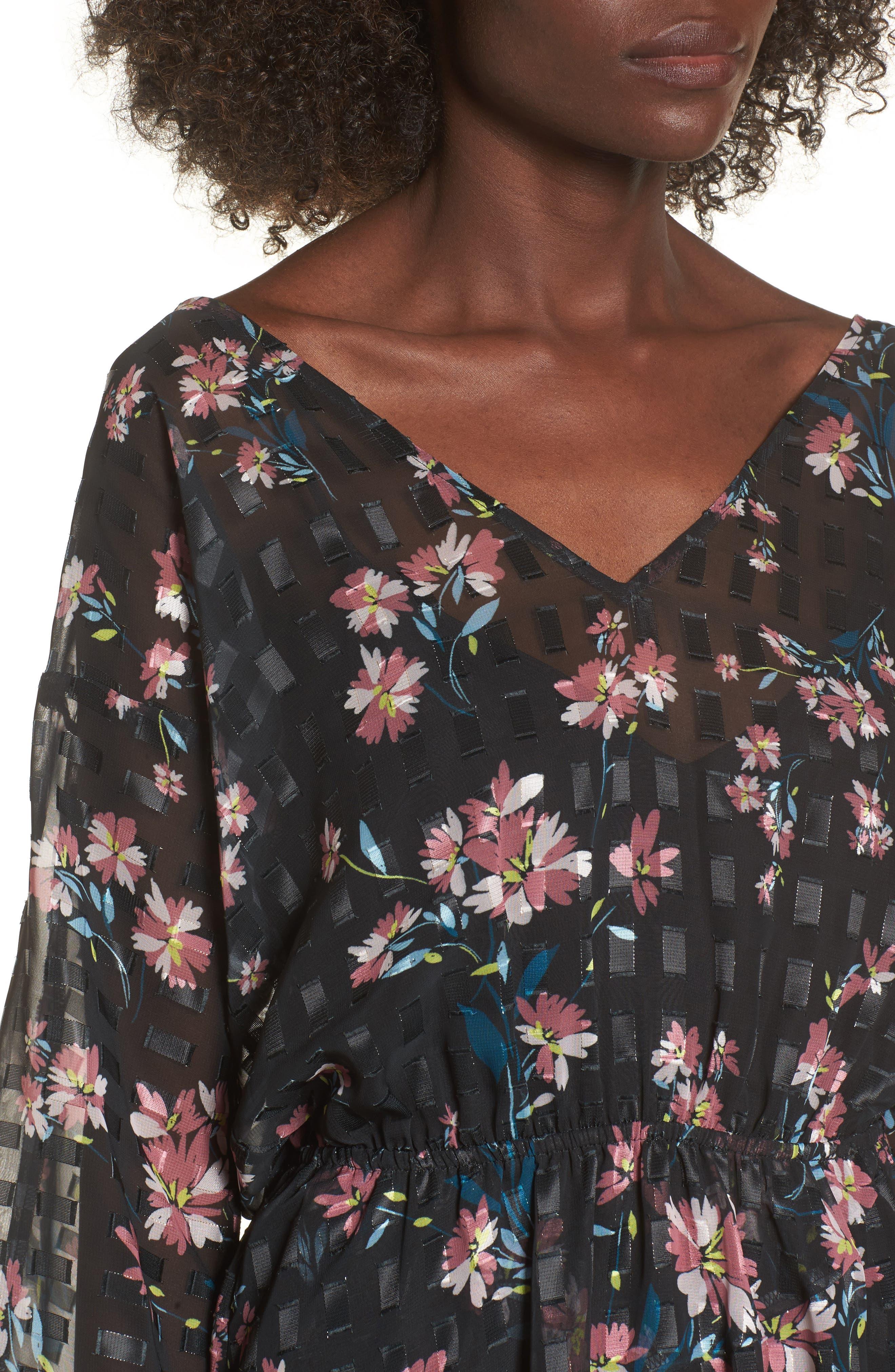 Alexis Floral Dress,                             Alternate thumbnail 4, color,                             002