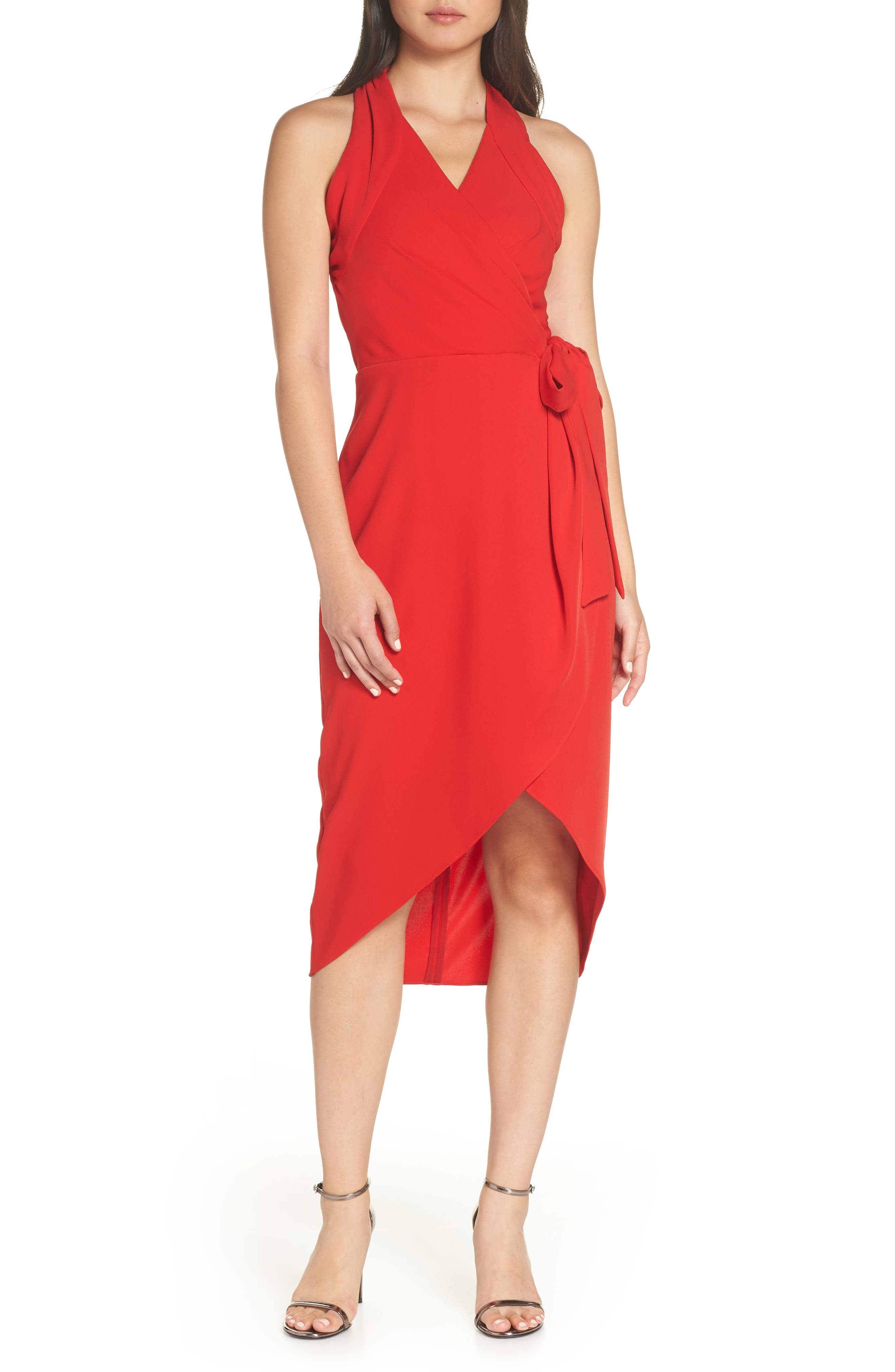 Harlyn Faux Wrap Midi Cocktail Dress, Red