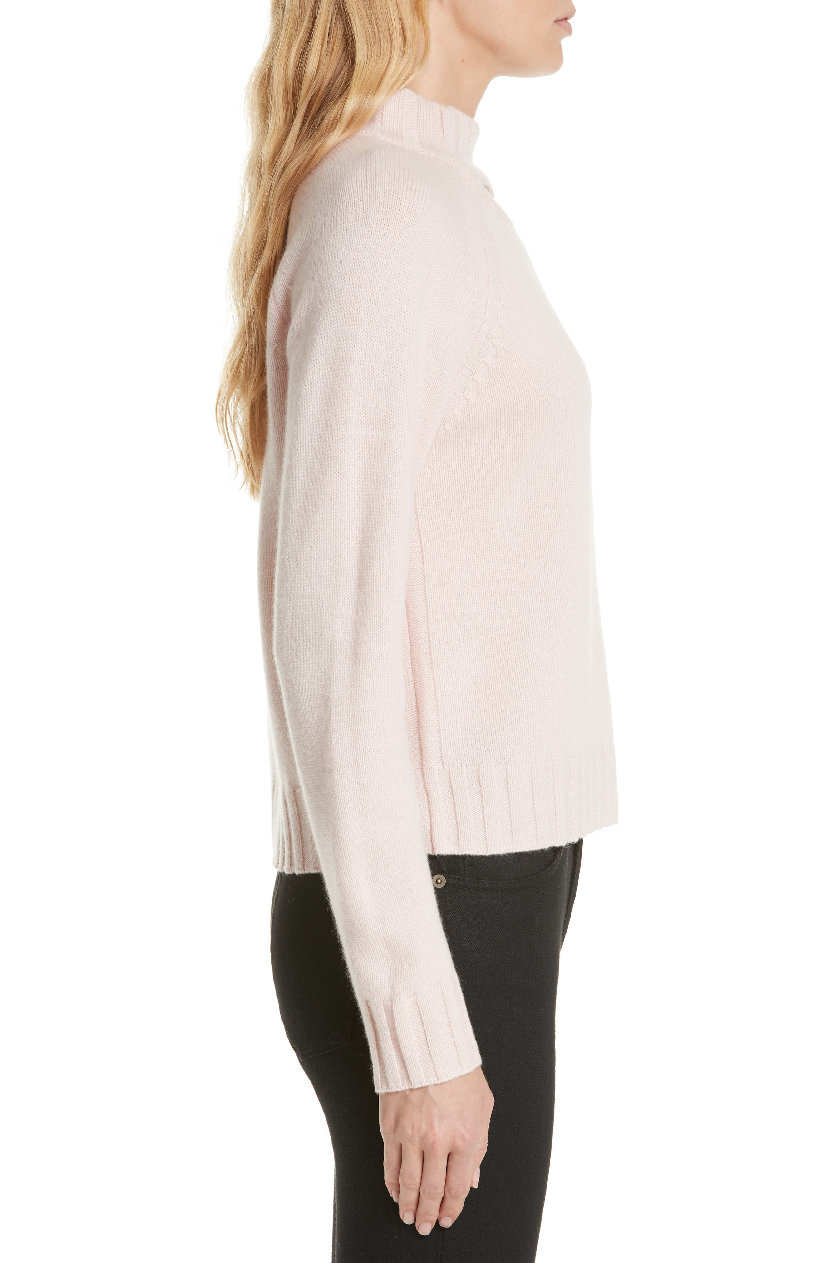 Cutout Detail Mock Neck Wool Cashmere Sweater,                             Alternate thumbnail 3, color,                             CHARM PINK