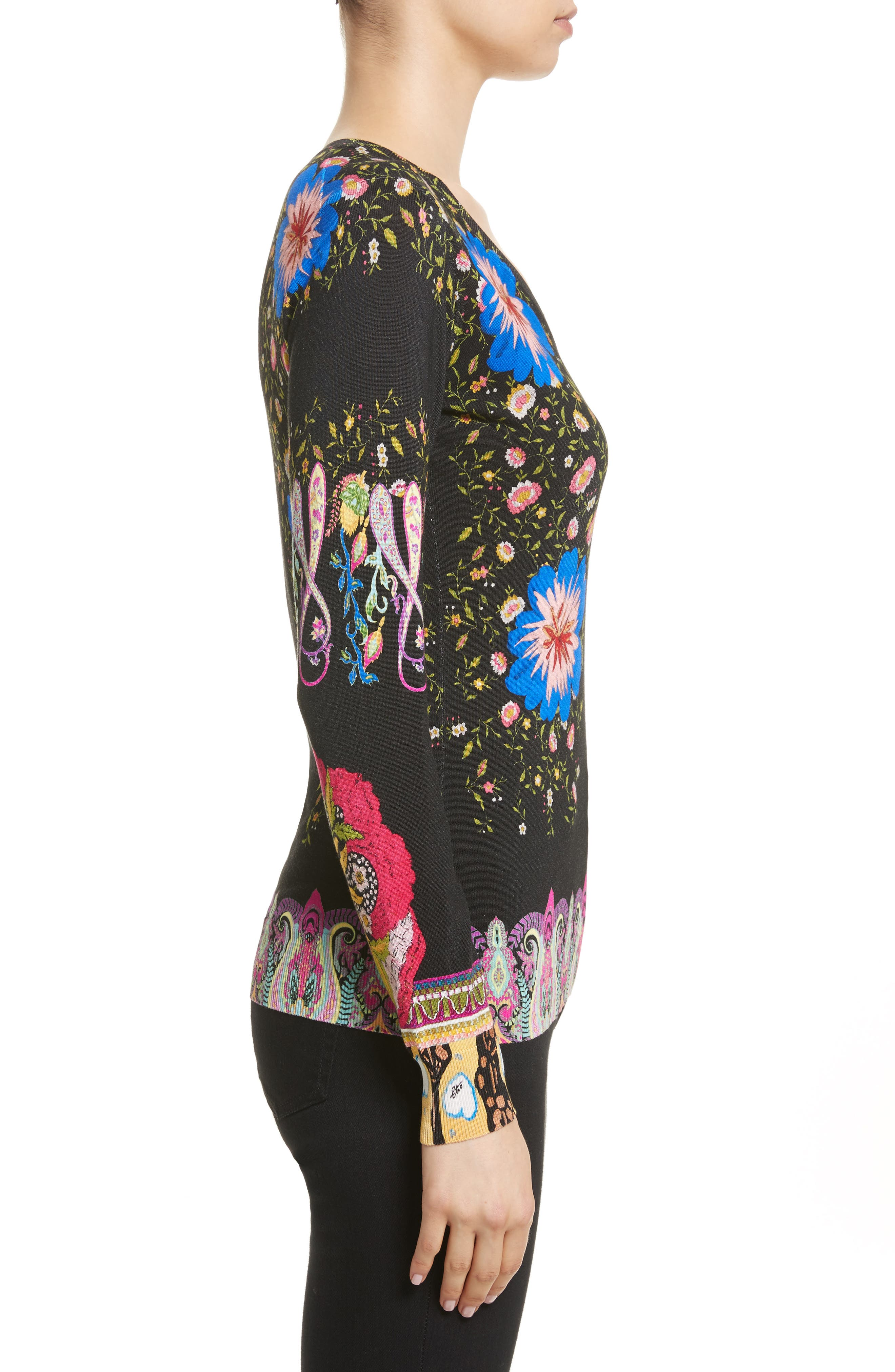 Floral Paisley Stretch Silk Sweater,                             Alternate thumbnail 3, color,