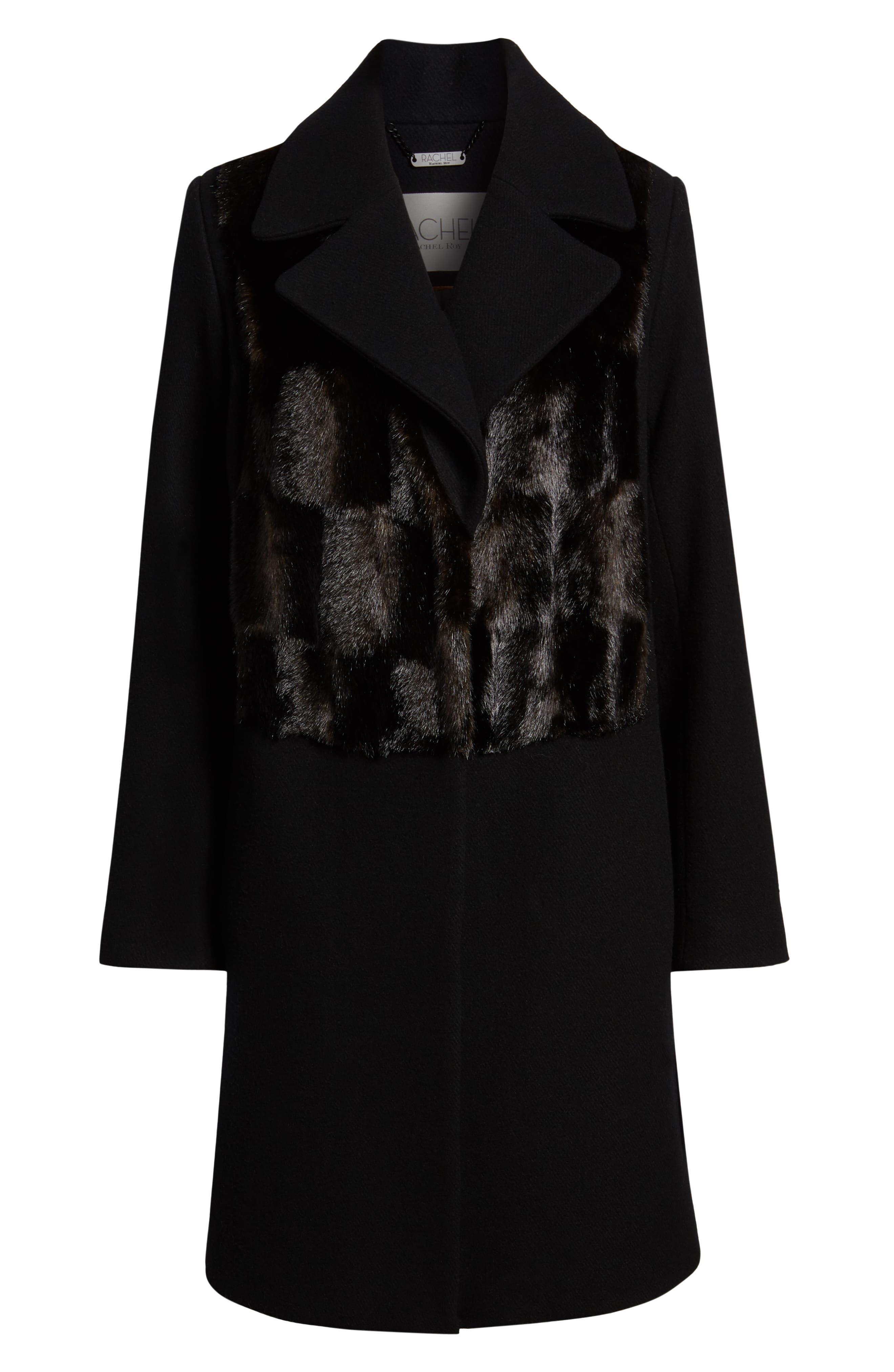 Faux Fur Panel Wool Blend Coat,                             Alternate thumbnail 6, color,                             BLACK