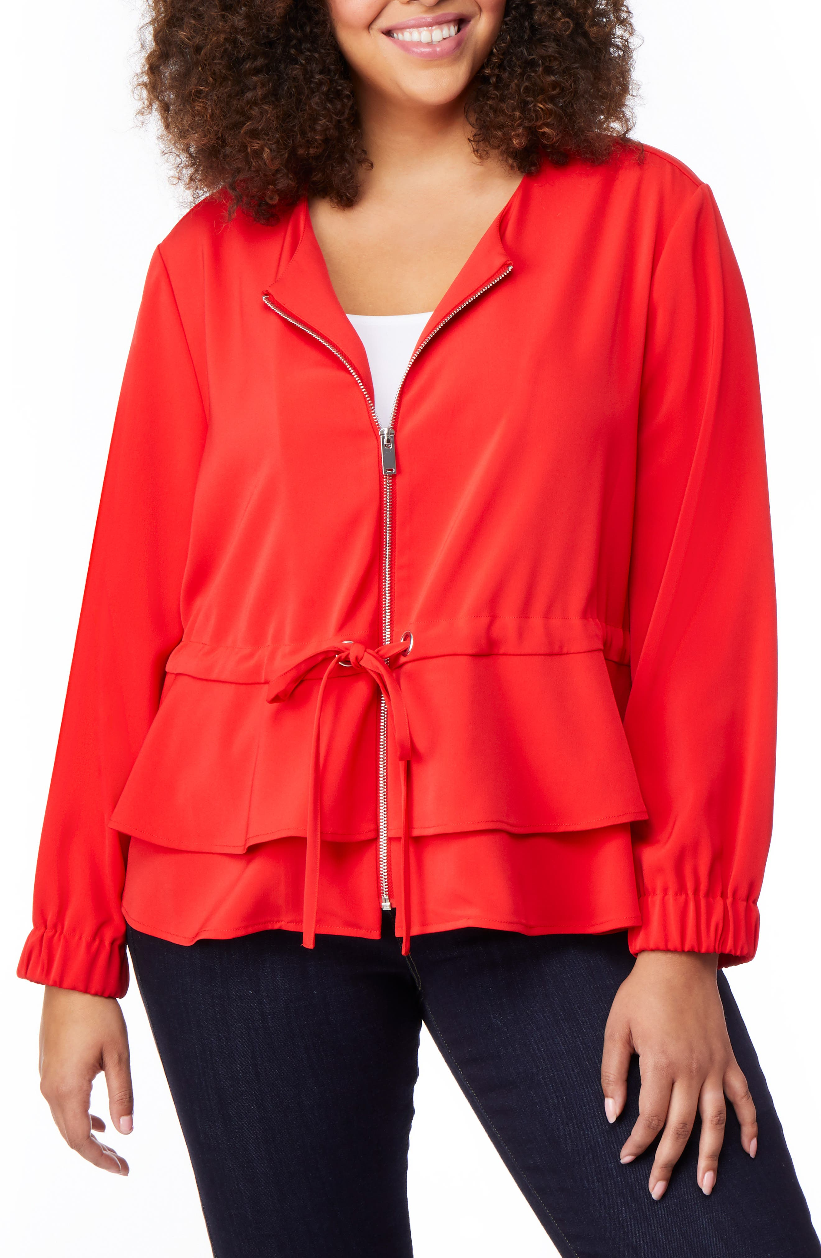 Tiered Peplum Jacket,                         Main,                         color, FIERY RED