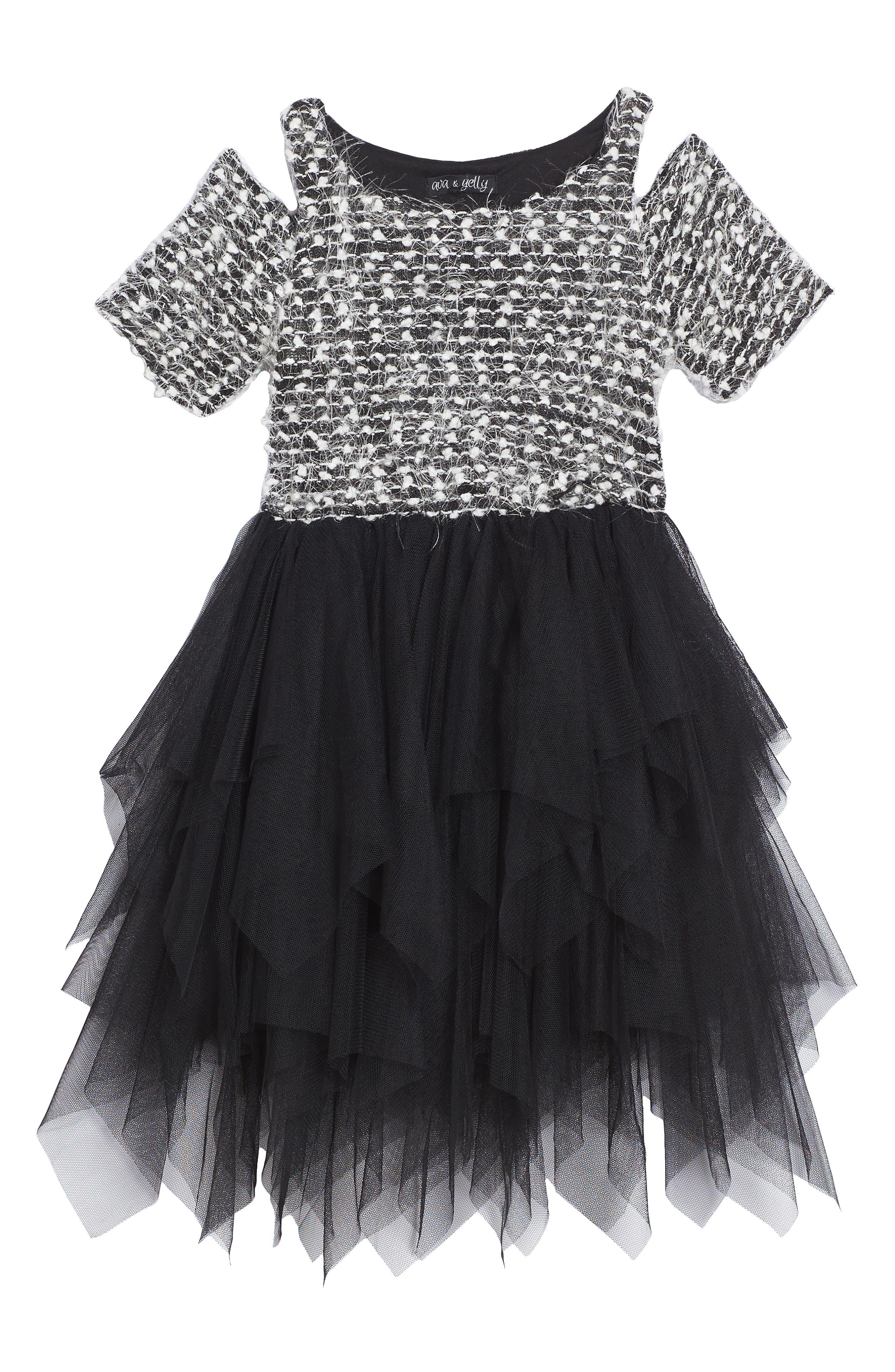 Sweater Tutu Dress,                             Main thumbnail 1, color,                             001