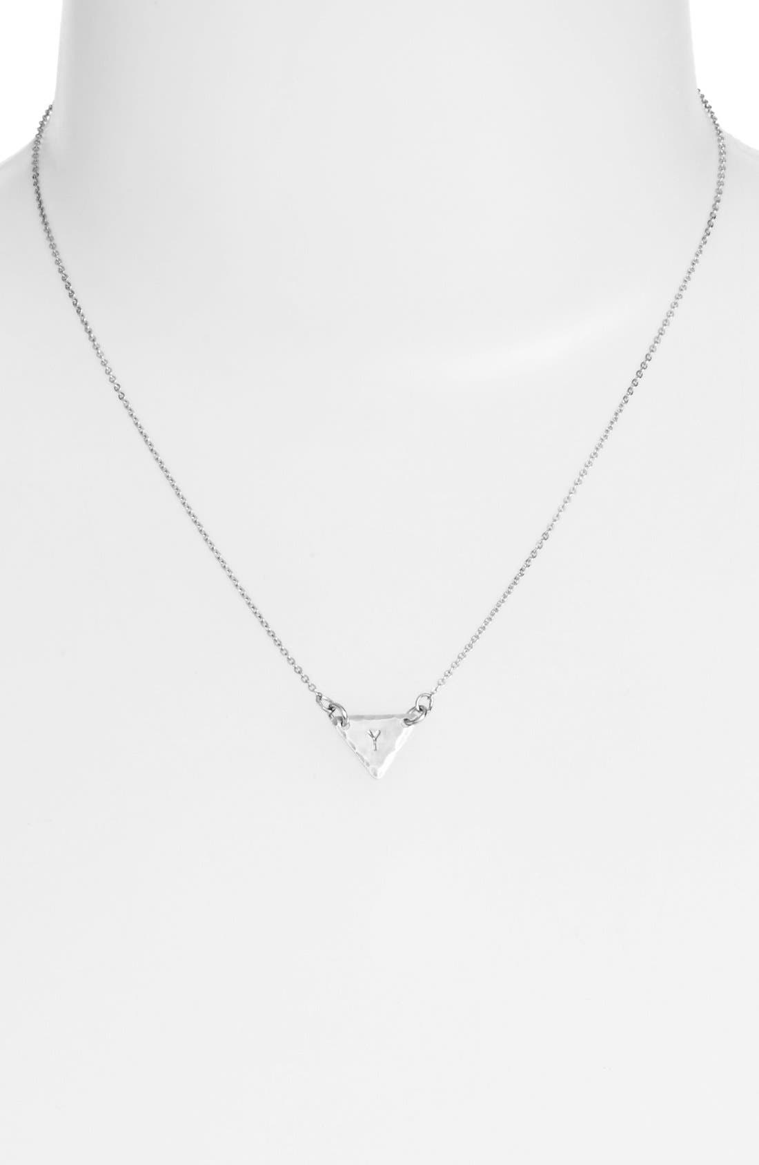Sterling Silver Initial Mini Triangle Necklace,                             Alternate thumbnail 51, color,