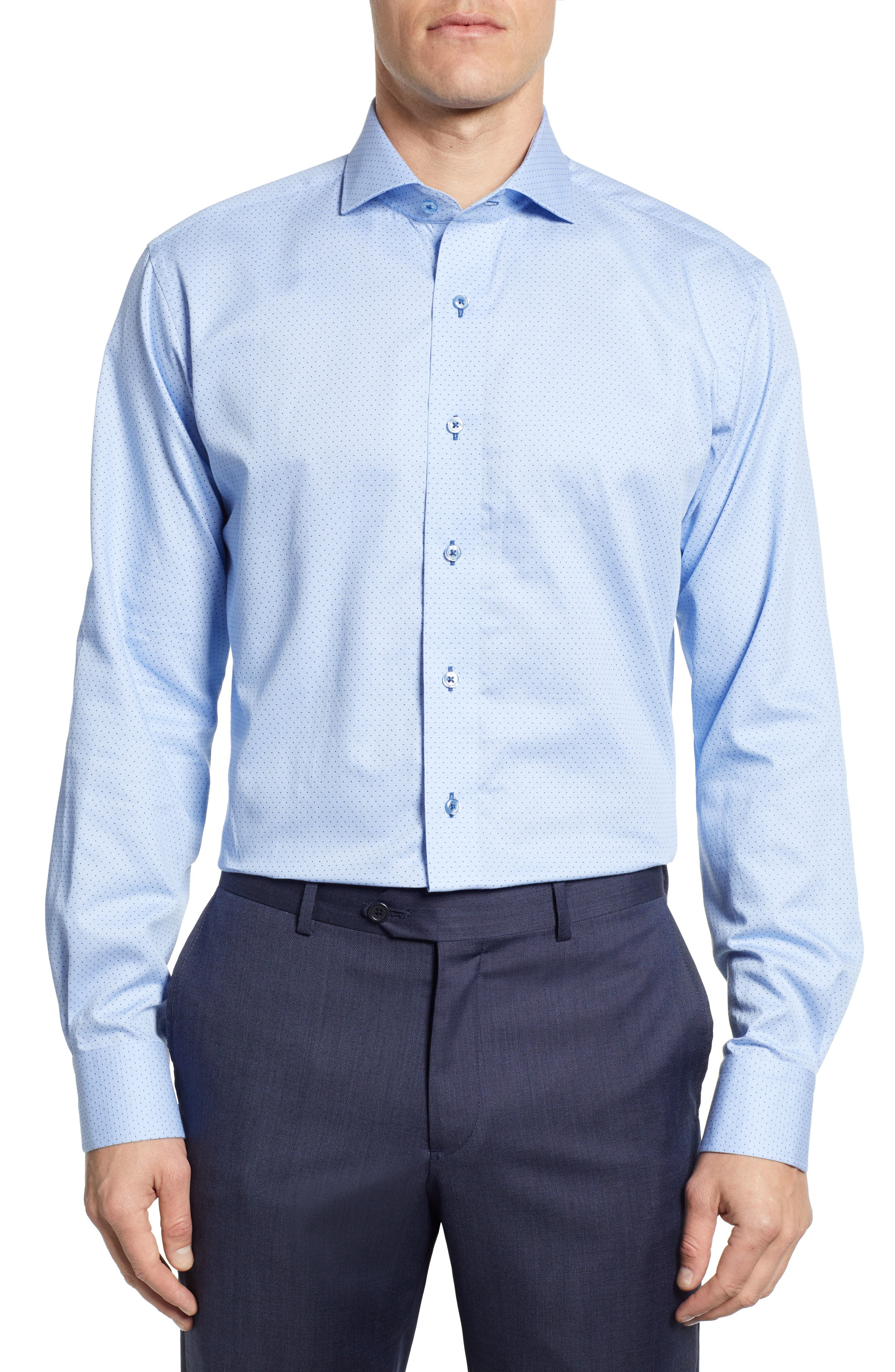 LORENZO UOMO Trim Fit Dot Dress Shirt, Main, color, LT BLUE