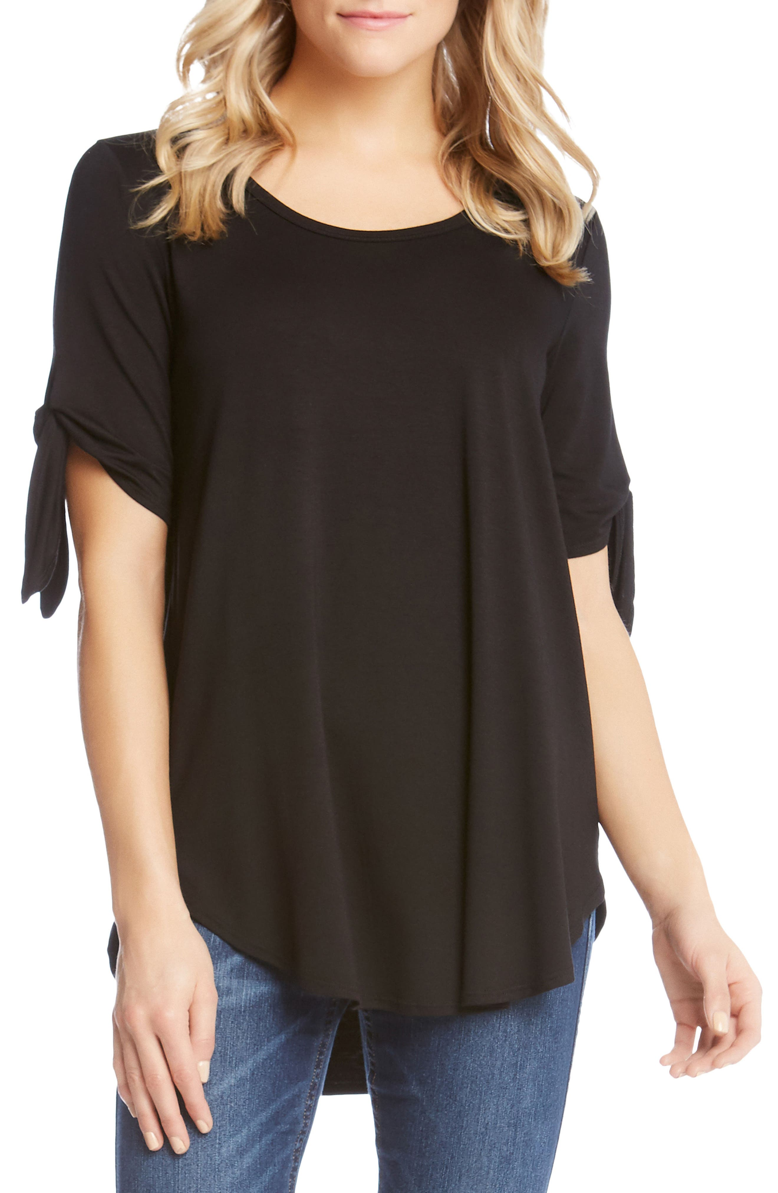 Knot Sleeve Top,                         Main,                         color, 001
