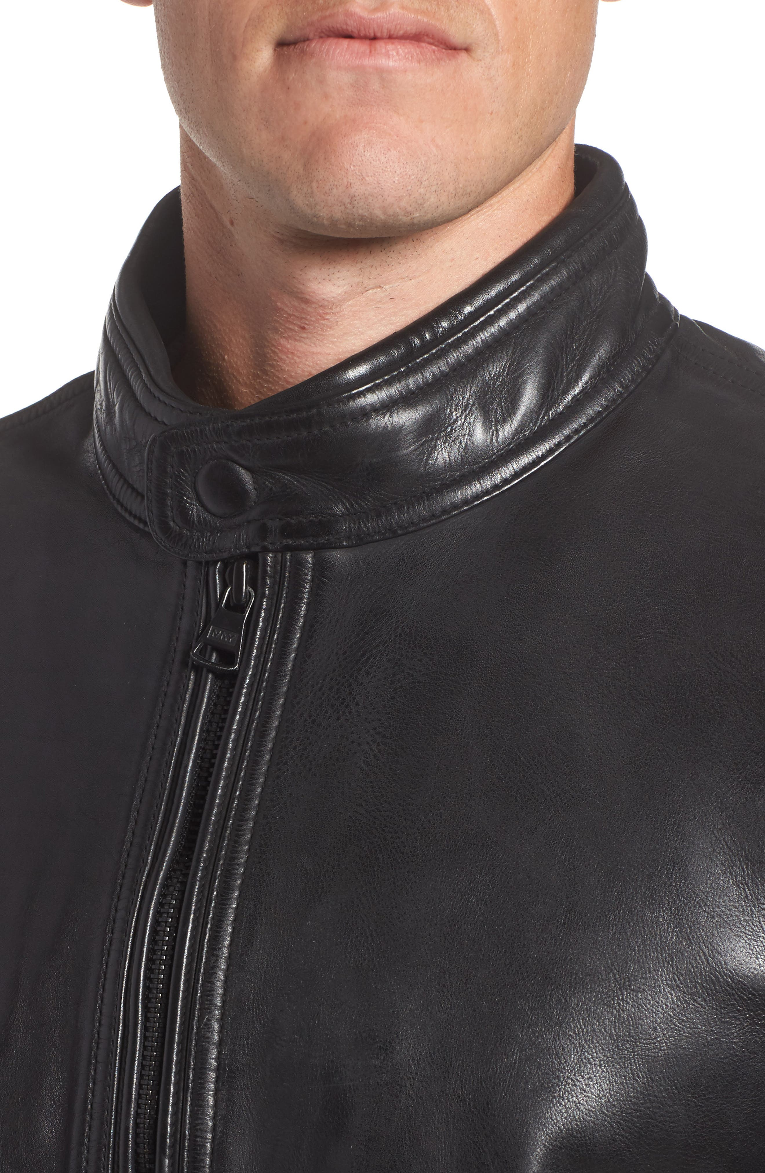 Calfskin Leather Moto Jacket,                             Alternate thumbnail 4, color,                             001