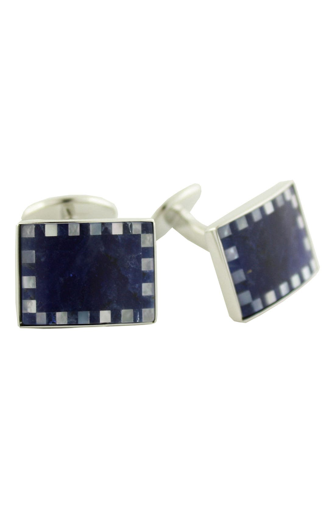 Sterling Silver, Sodalite & Mother-of-Pearl Cuff Links,                         Main,                         color, BLUE/ WHITE