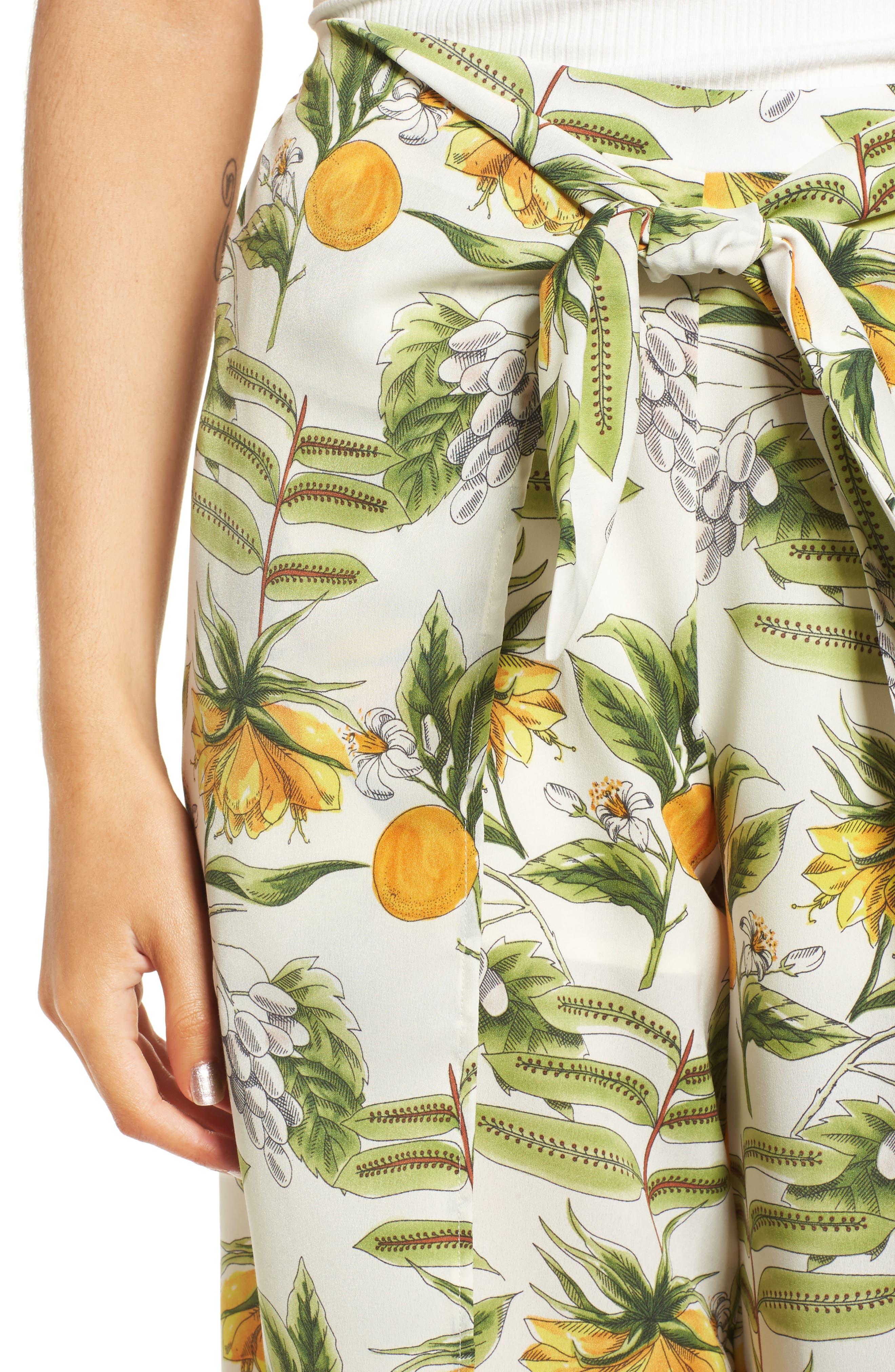 Limonada Citrus Print Split Culottes,                             Alternate thumbnail 4, color,                             901