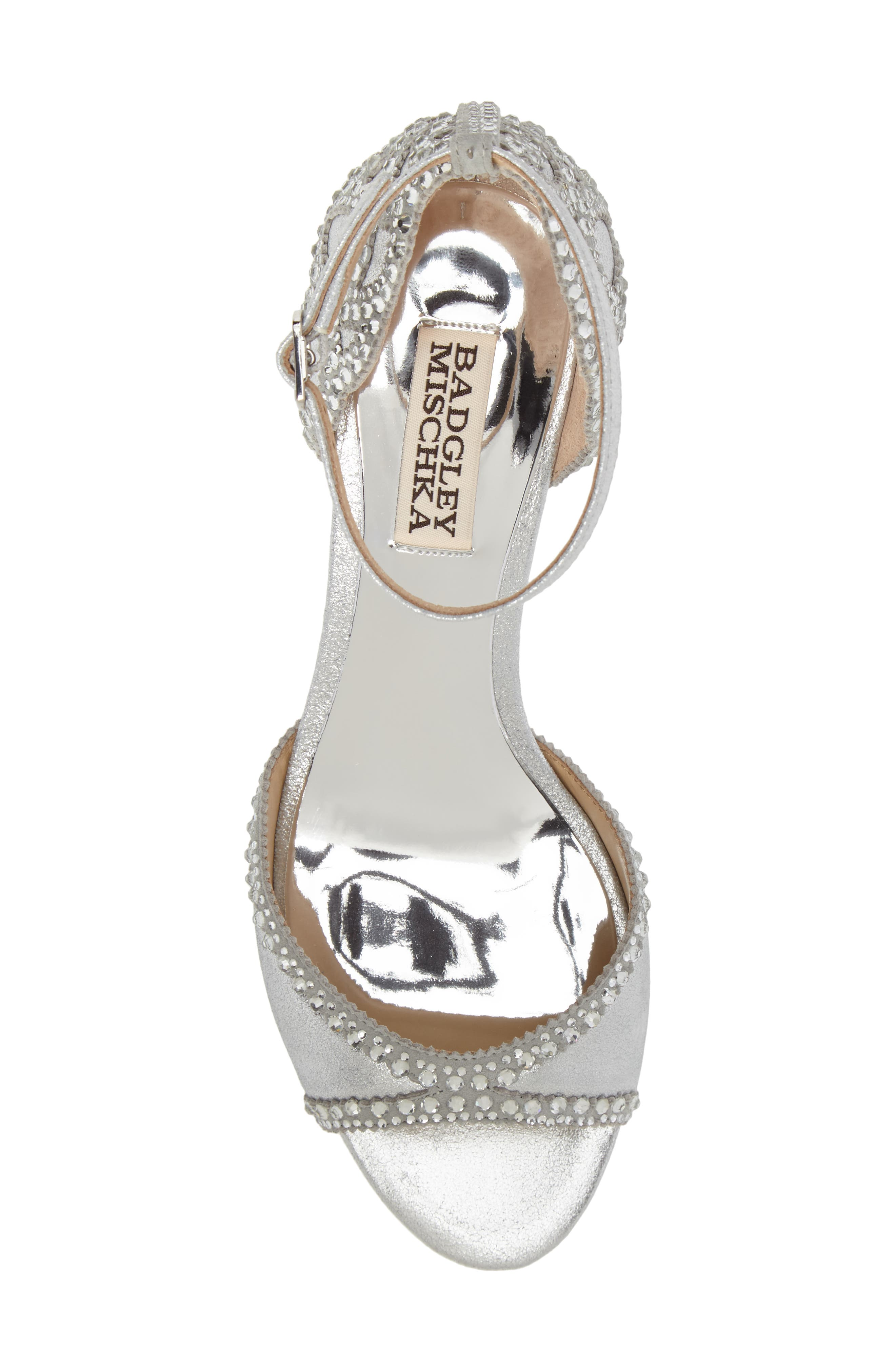 'Gillian' Crystal Embellished d'Orsay Sandal,                             Alternate thumbnail 5, color,                             SILVER METALLIC SUEDE