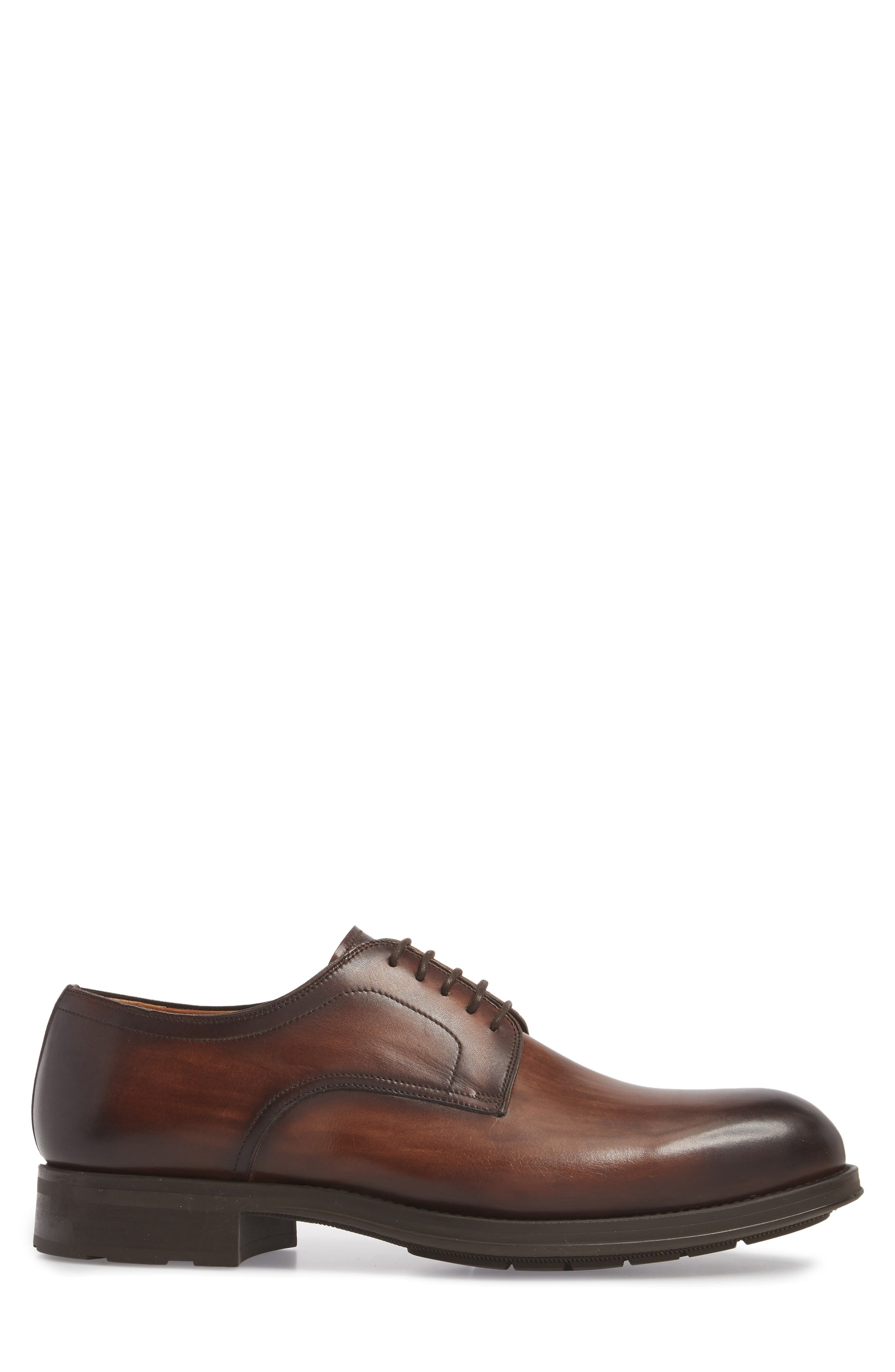 Solano Plain Toe Derby,                             Alternate thumbnail 3, color,                             BROWN LEATHER