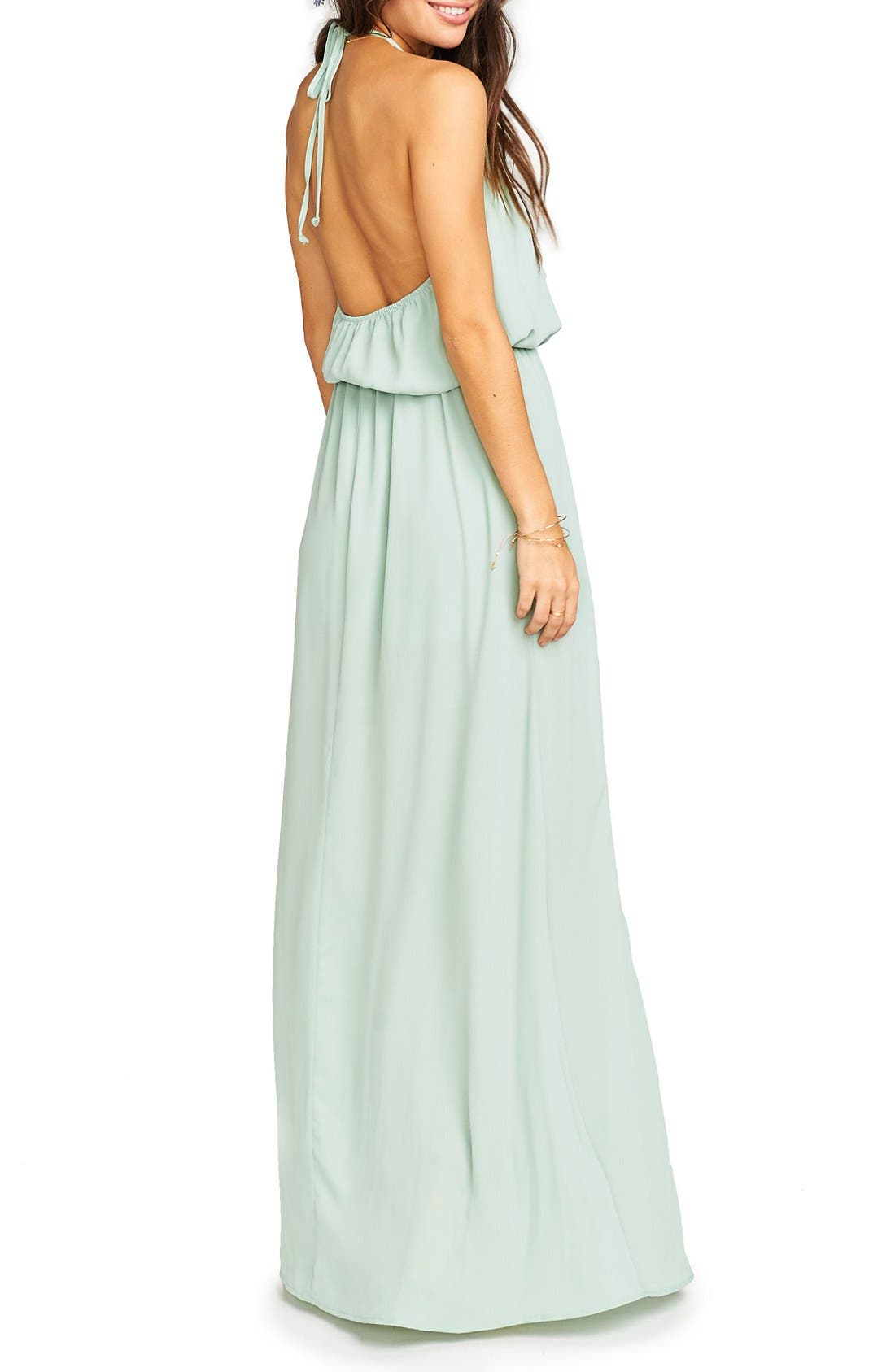 Heather Chiffon Halter Gown,                             Alternate thumbnail 48, color,