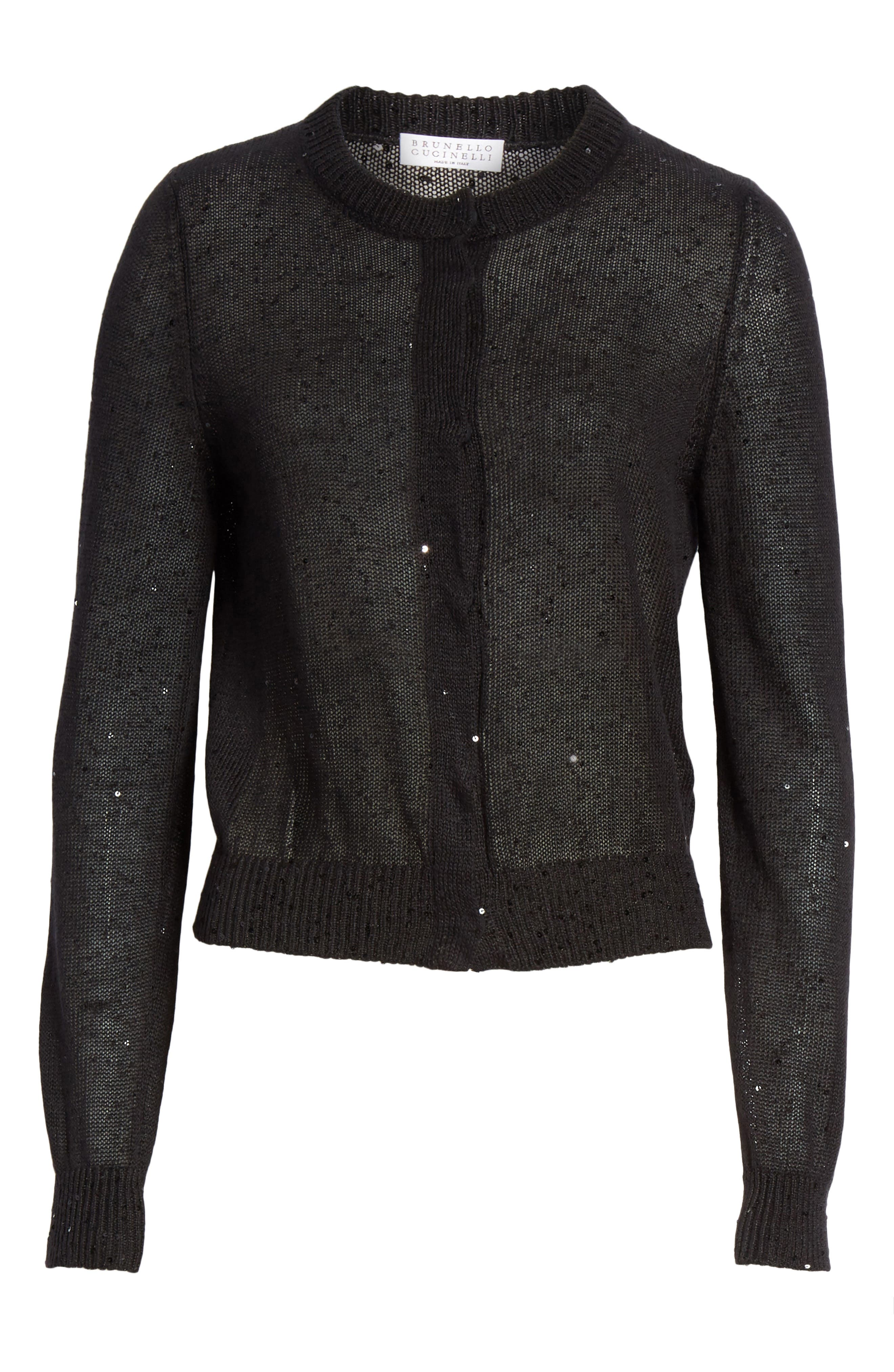 Sequin Linen & Silk Crop Cardigan,                             Alternate thumbnail 6, color,                             BLACK