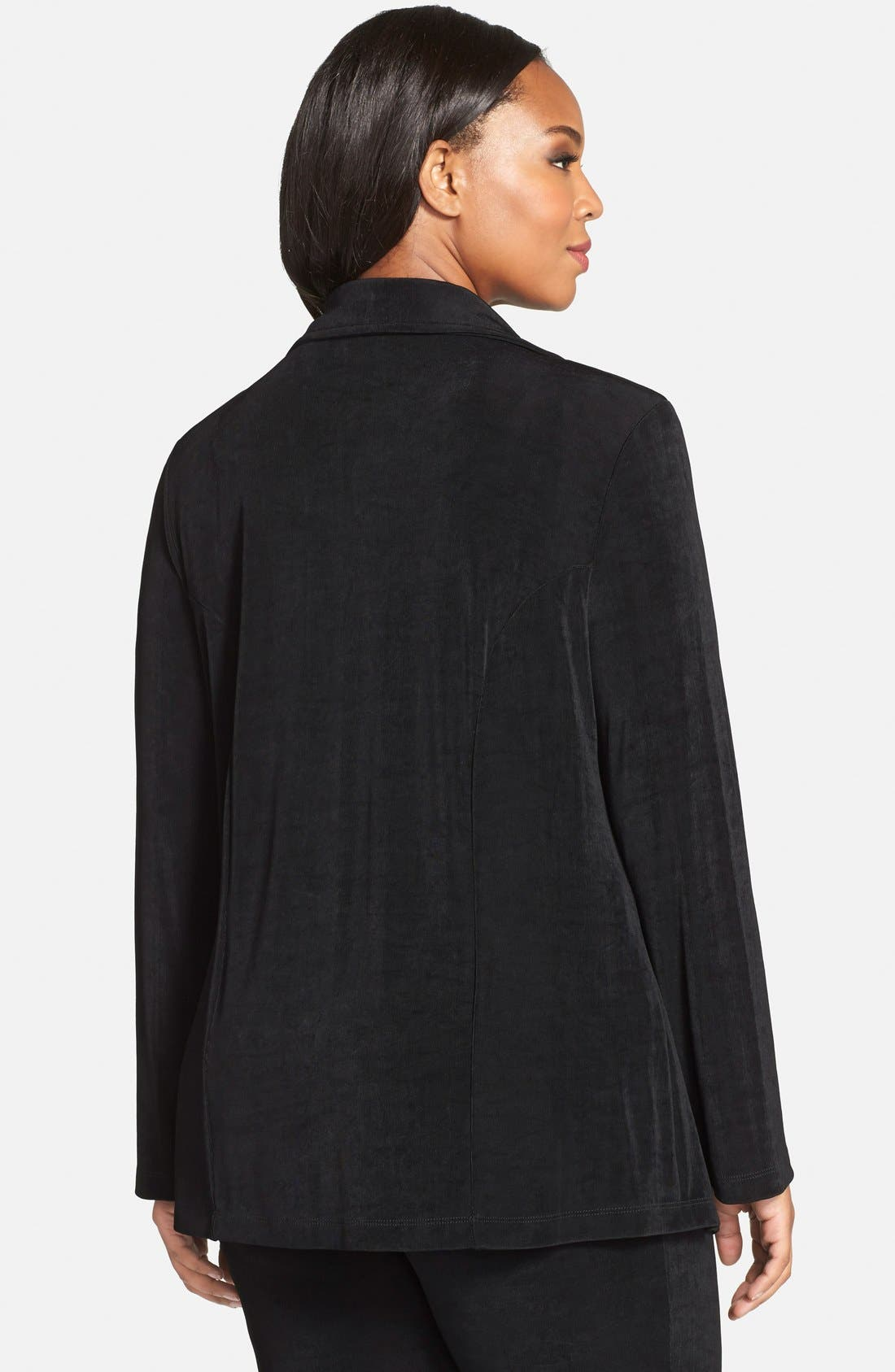 One-Button Stretch Knit Blazer,                             Alternate thumbnail 8, color,                             BLACK