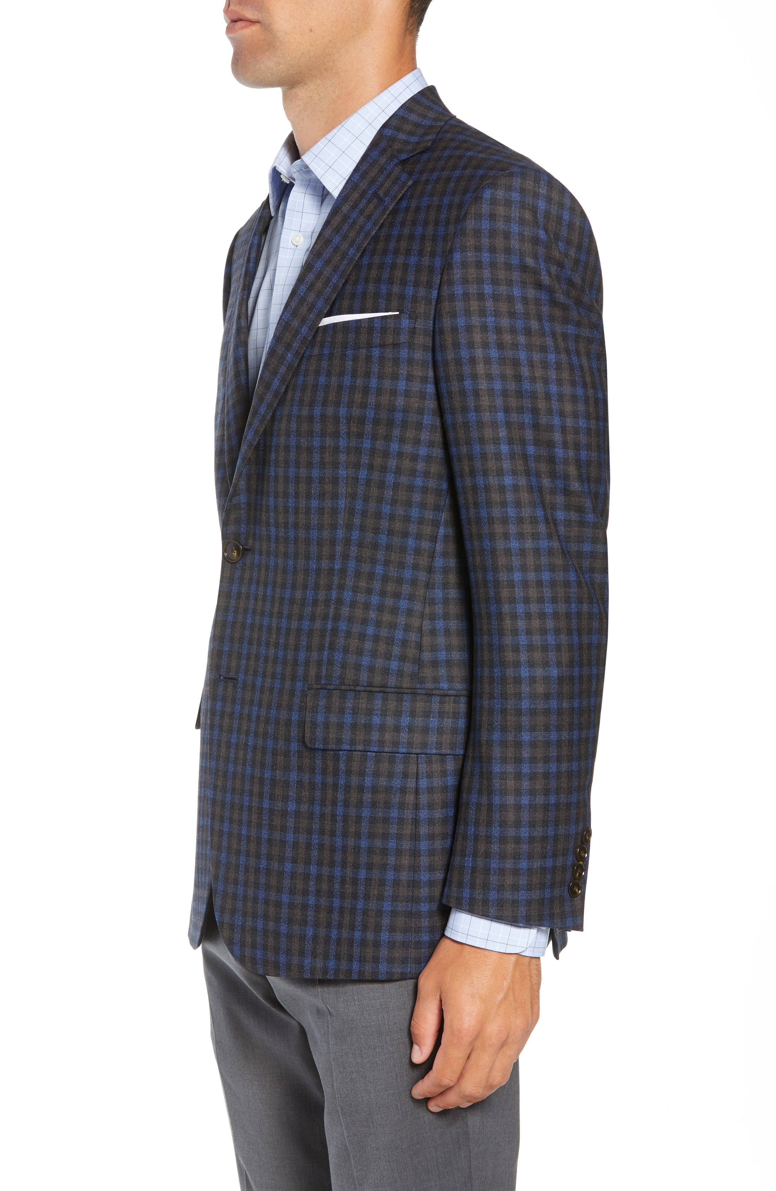 Classic Fit Check Wool Sport Coat,                             Alternate thumbnail 3, color,                             201