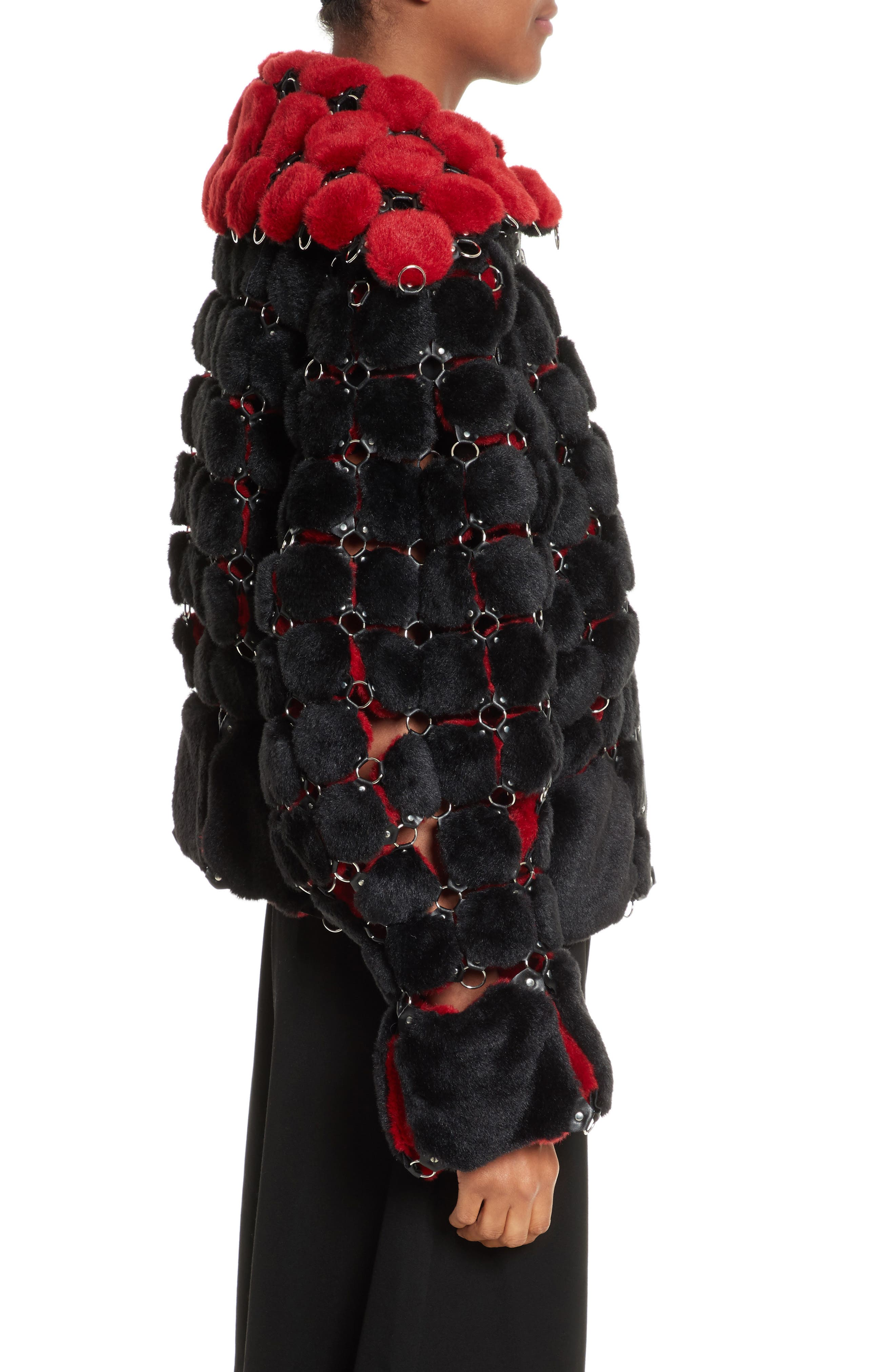 Faux Fur Jacket with Chain Mail Detail,                             Alternate thumbnail 3, color,                             005