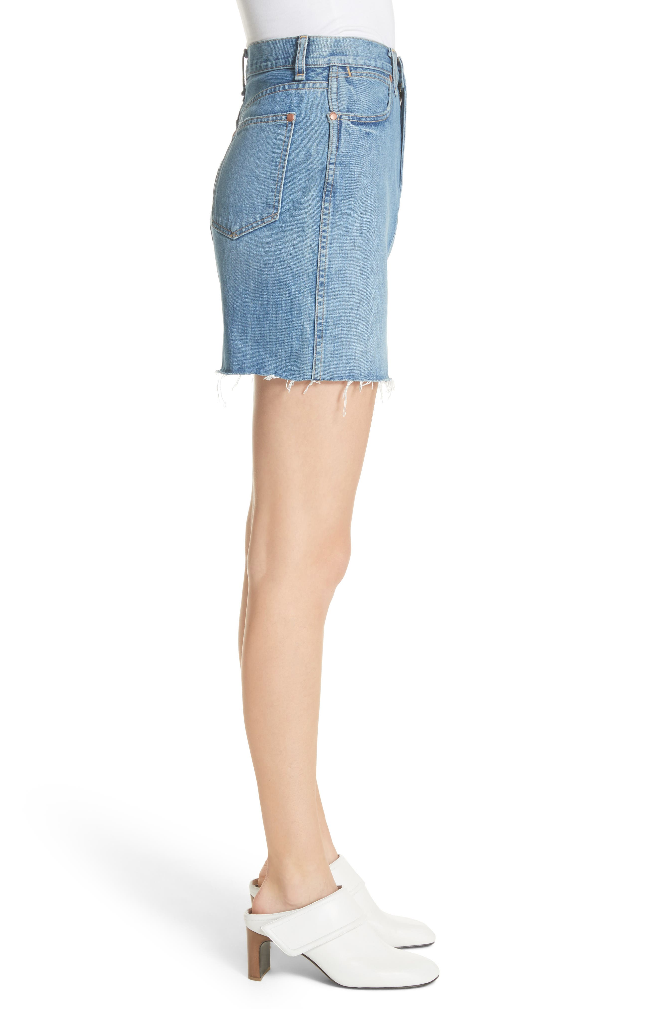 Moss High Waist Denim Miniskirt,                             Alternate thumbnail 3, color,                             420