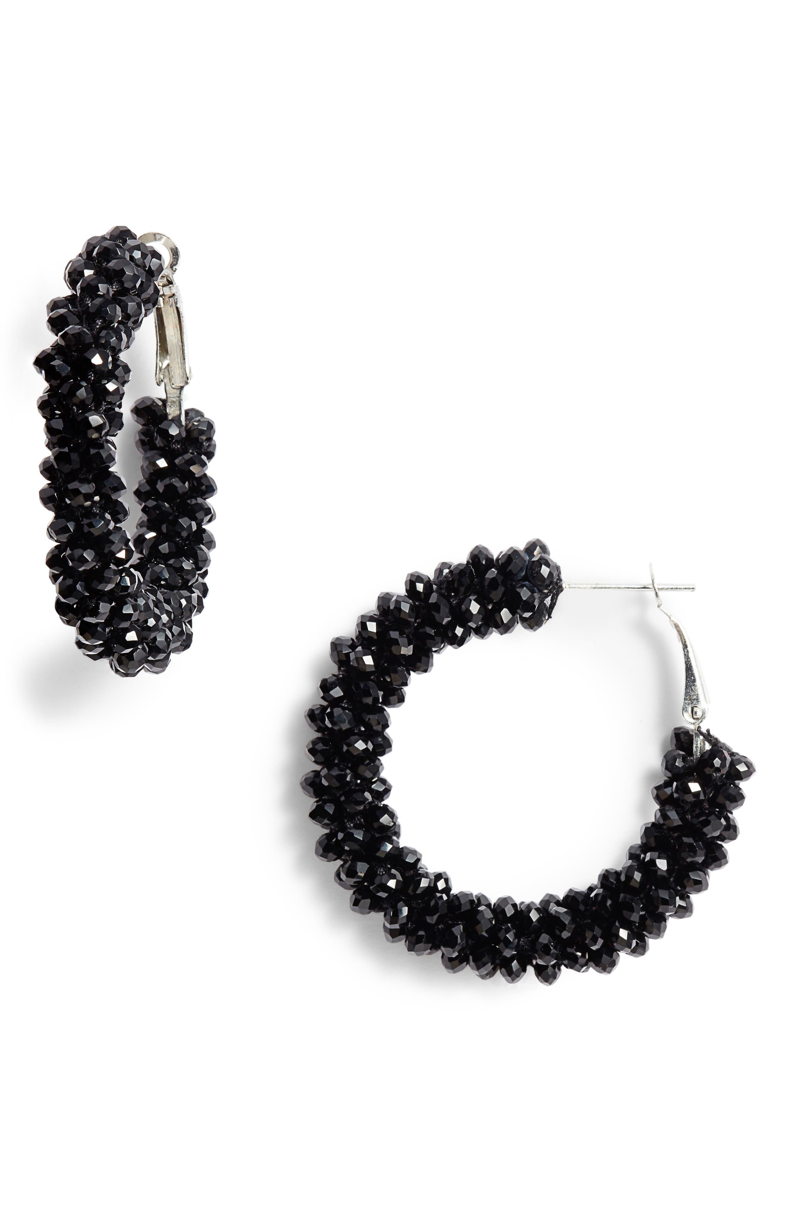 AREA STARS Beaded Hoop Earrings in Black