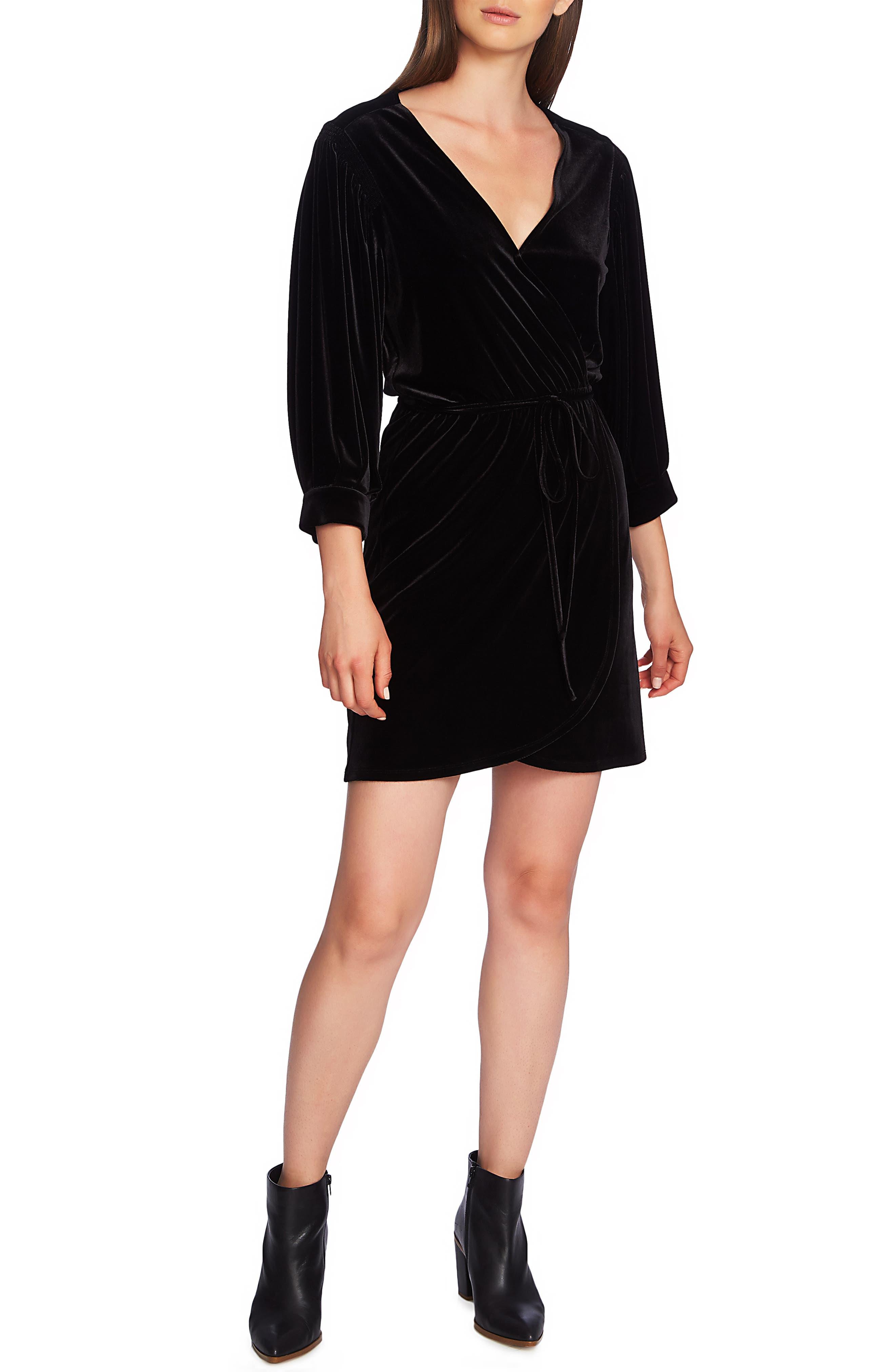 1.state Wrap Front Velvet Dress, Black