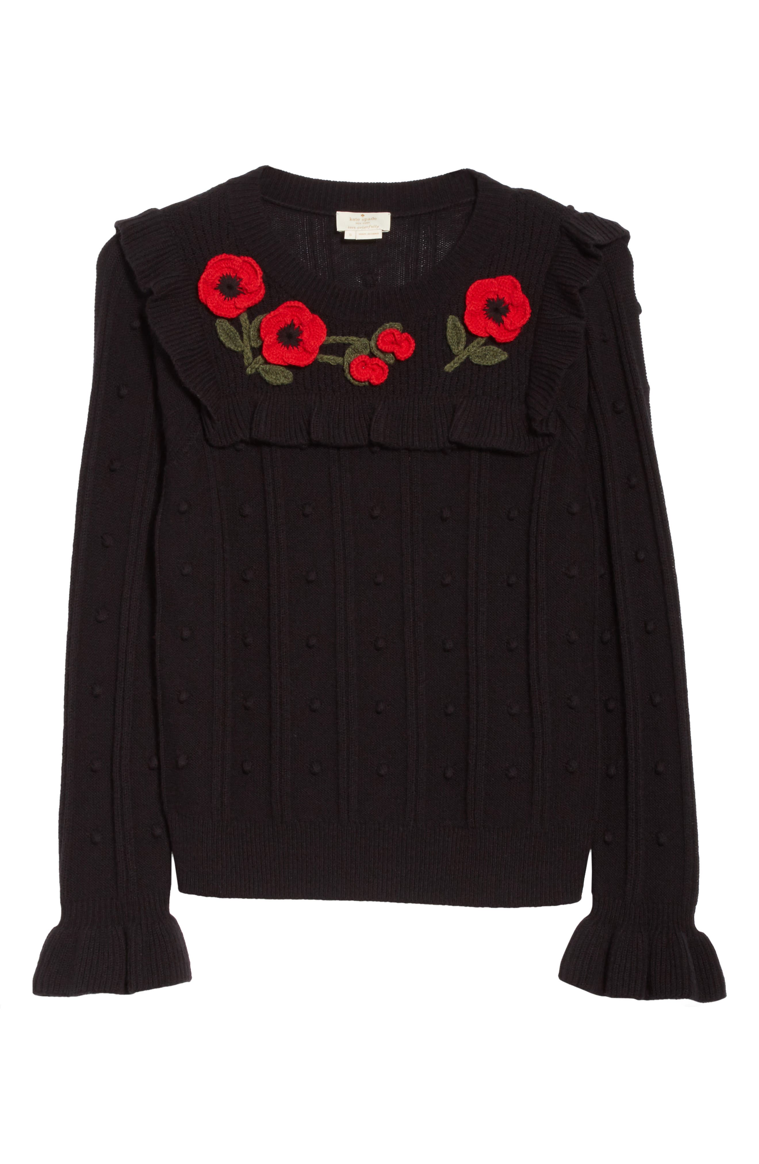 poppy embroidered sweater,                             Alternate thumbnail 6, color,                             001