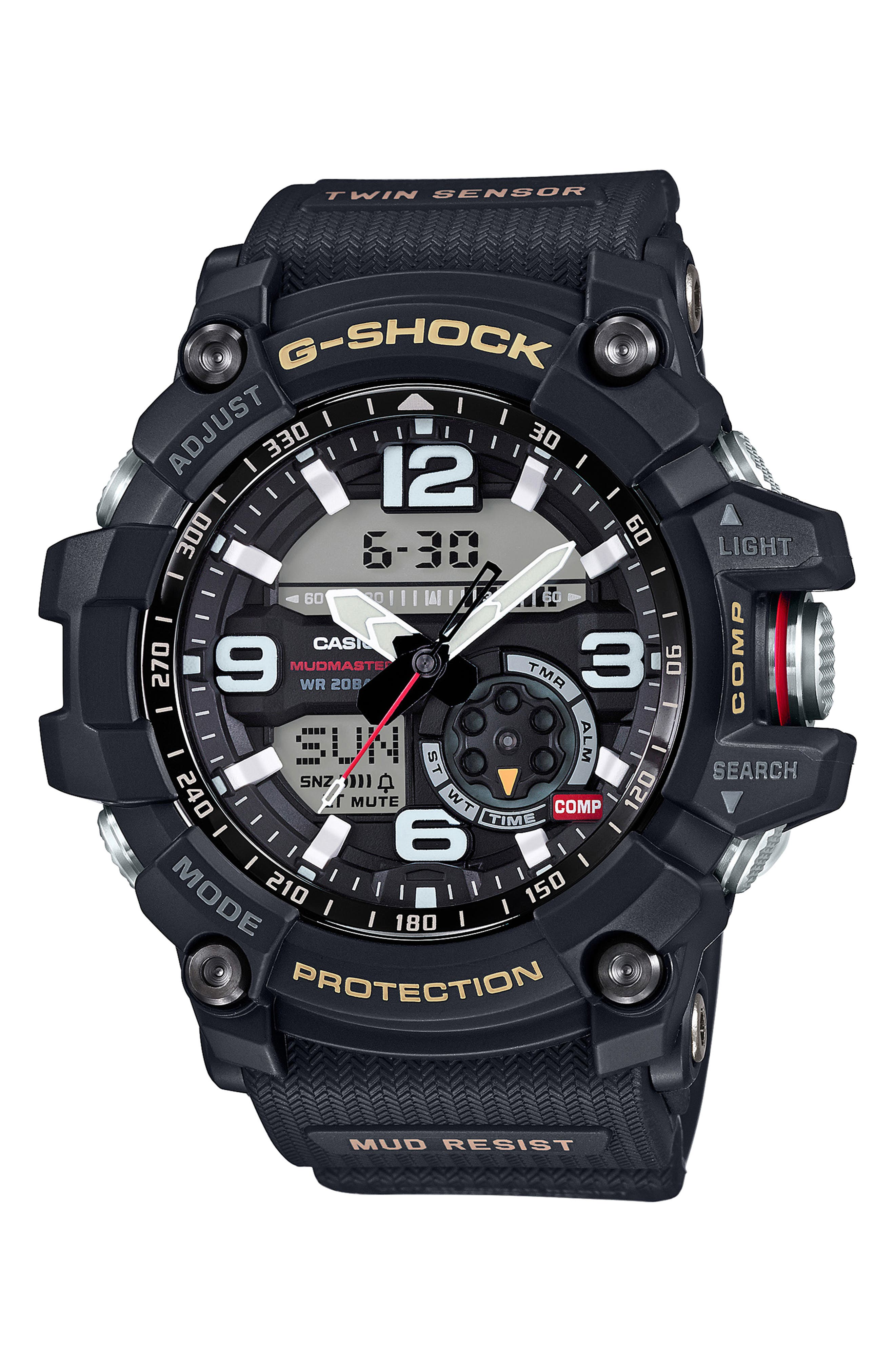 G-Shock Mudmaster Casio Resin Ana-Digi Watch, 55mm,                             Main thumbnail 1, color,                             BLACK