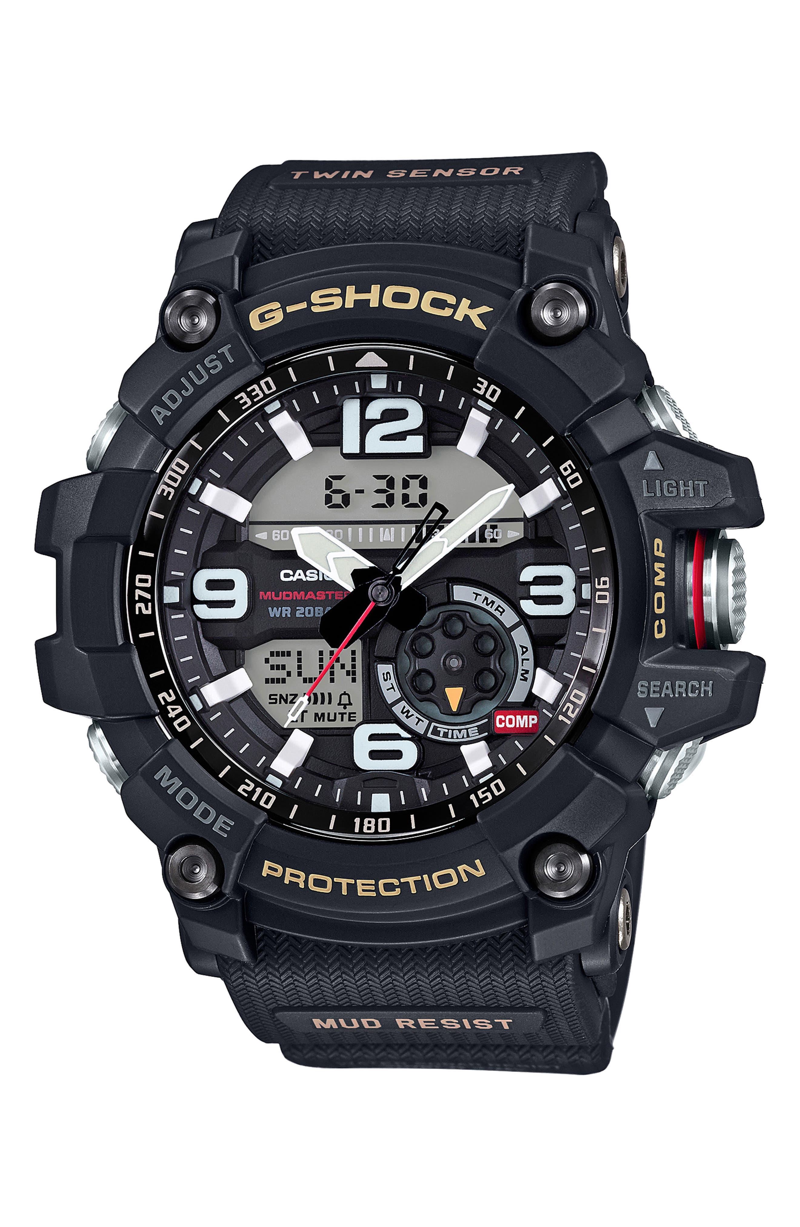 G-Shock Mudmaster Casio Resin Ana-Digi Watch, 55mm,                         Main,                         color, BLACK