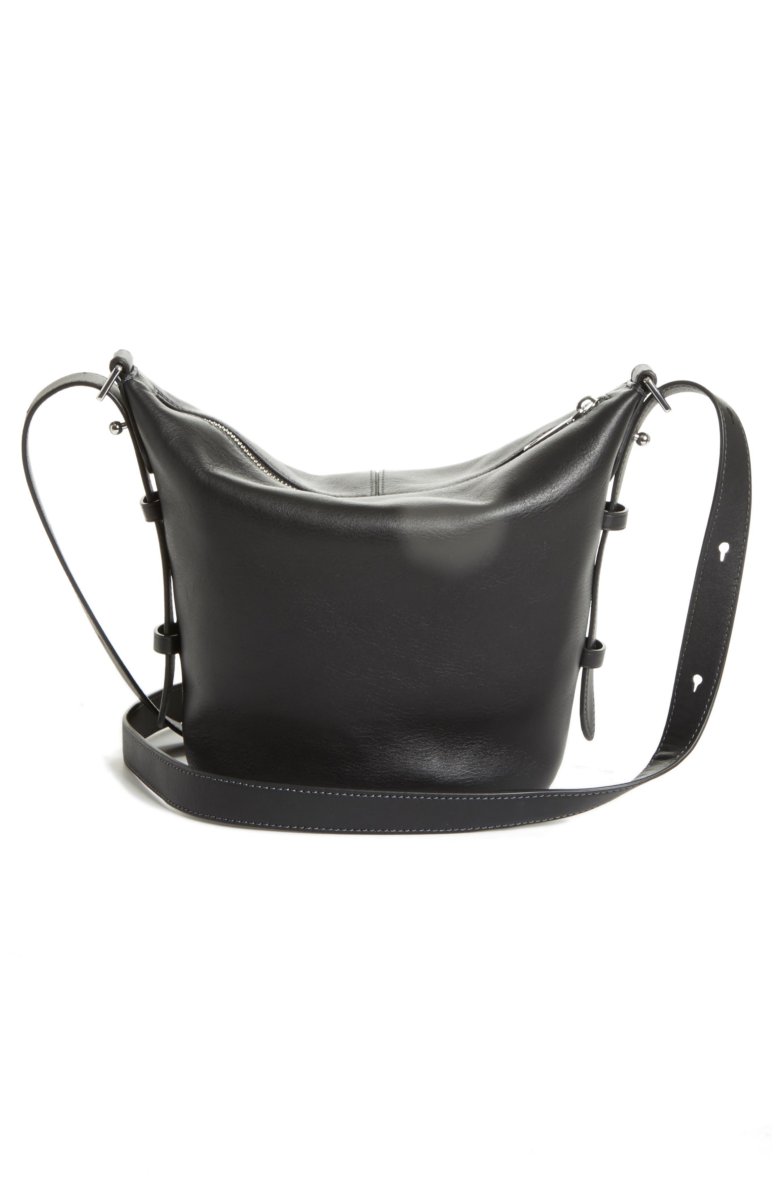 The Mini Sling Convertible Leather Hobo,                             Alternate thumbnail 3, color,                             001