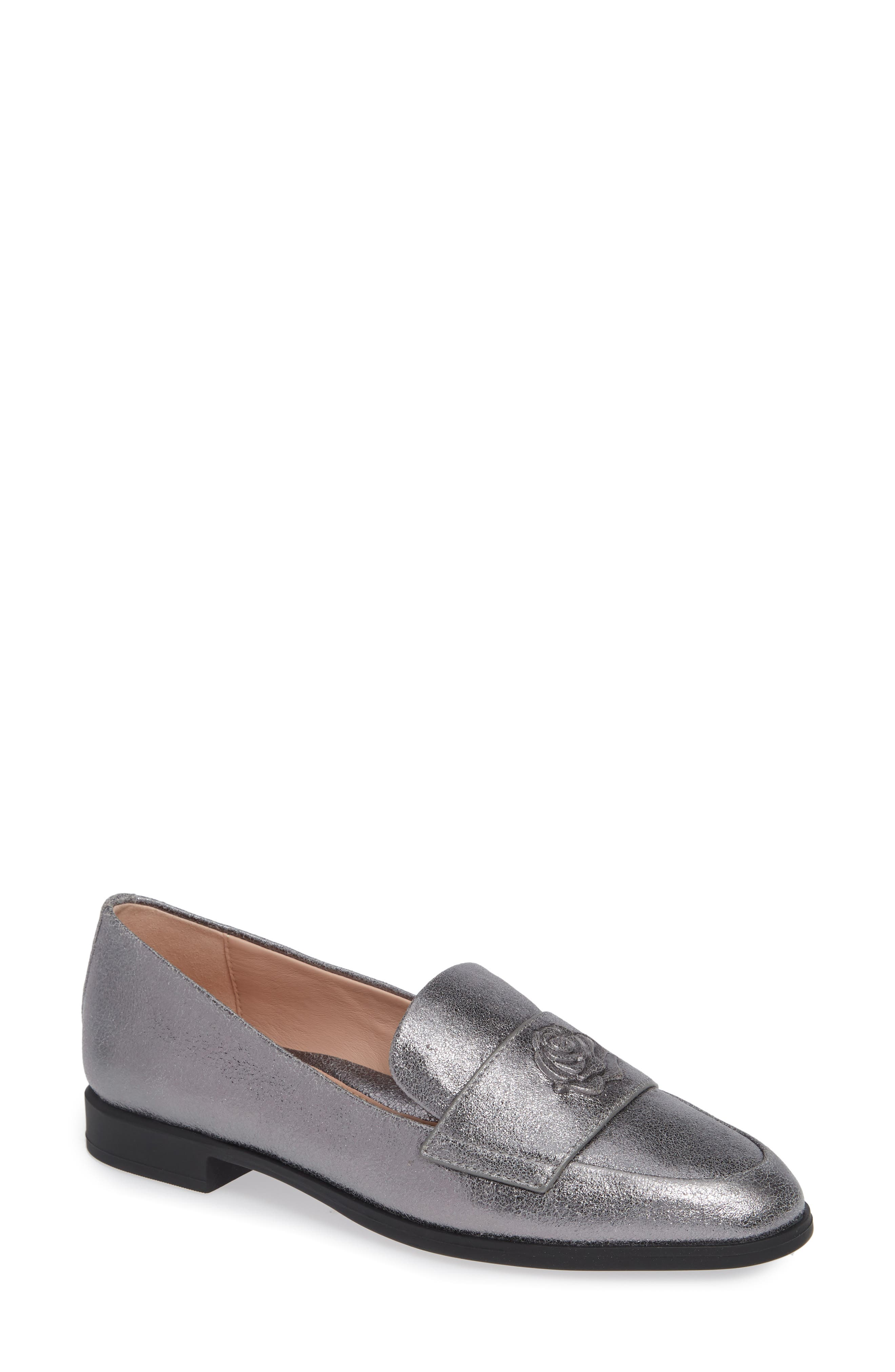 Blossom Loafer,                             Main thumbnail 1, color,                             GUNMETAL LEATHER