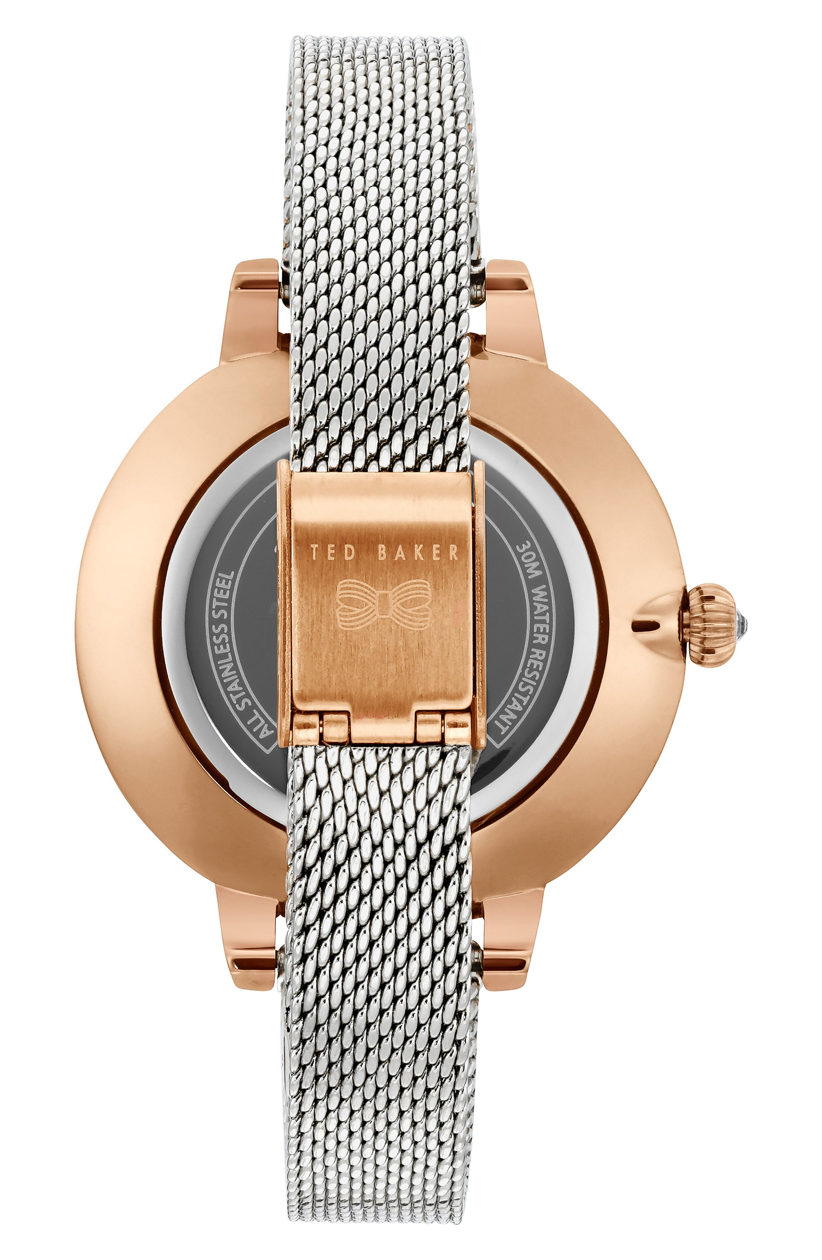 Kate Mesh Strap Watch, 36mm,                             Alternate thumbnail 2, color,                             SILVER/ FLORAL/ ROSE GOLD