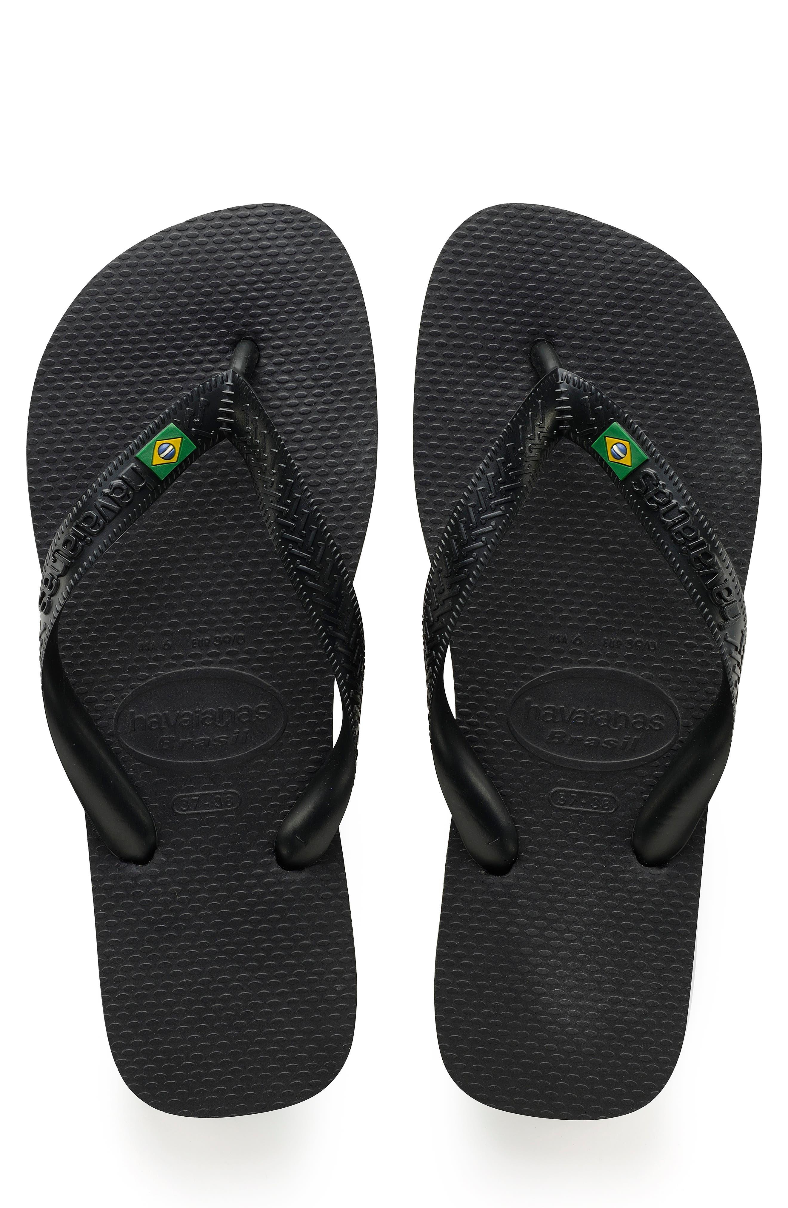 'Brazil' Flip Flop,                         Main,                         color, BLACK