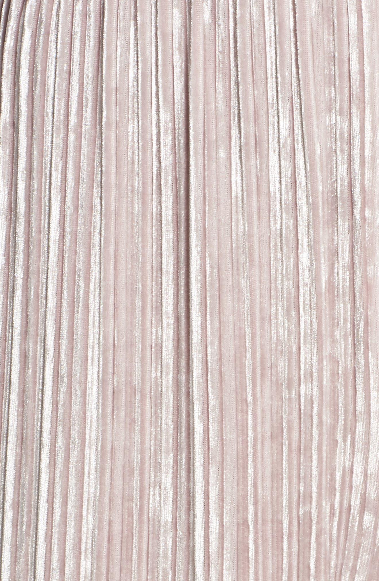 Pleated Velvet Jumpsuit,                             Alternate thumbnail 5, color,                             650