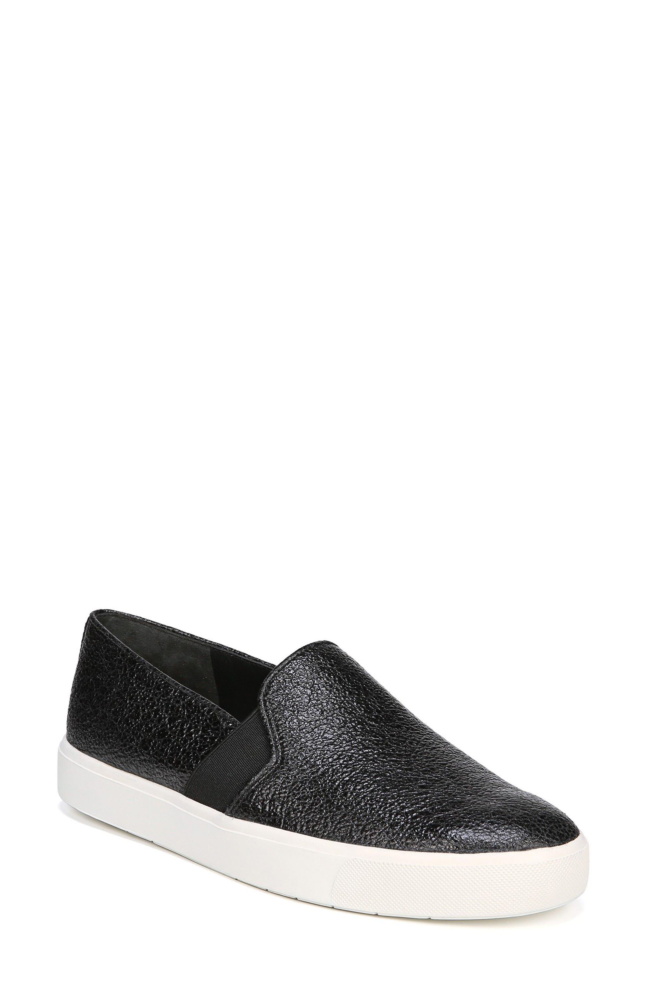 'Blair 12' Leather Slip-On Sneaker,                             Main thumbnail 1, color,                             BLACK LEATHER